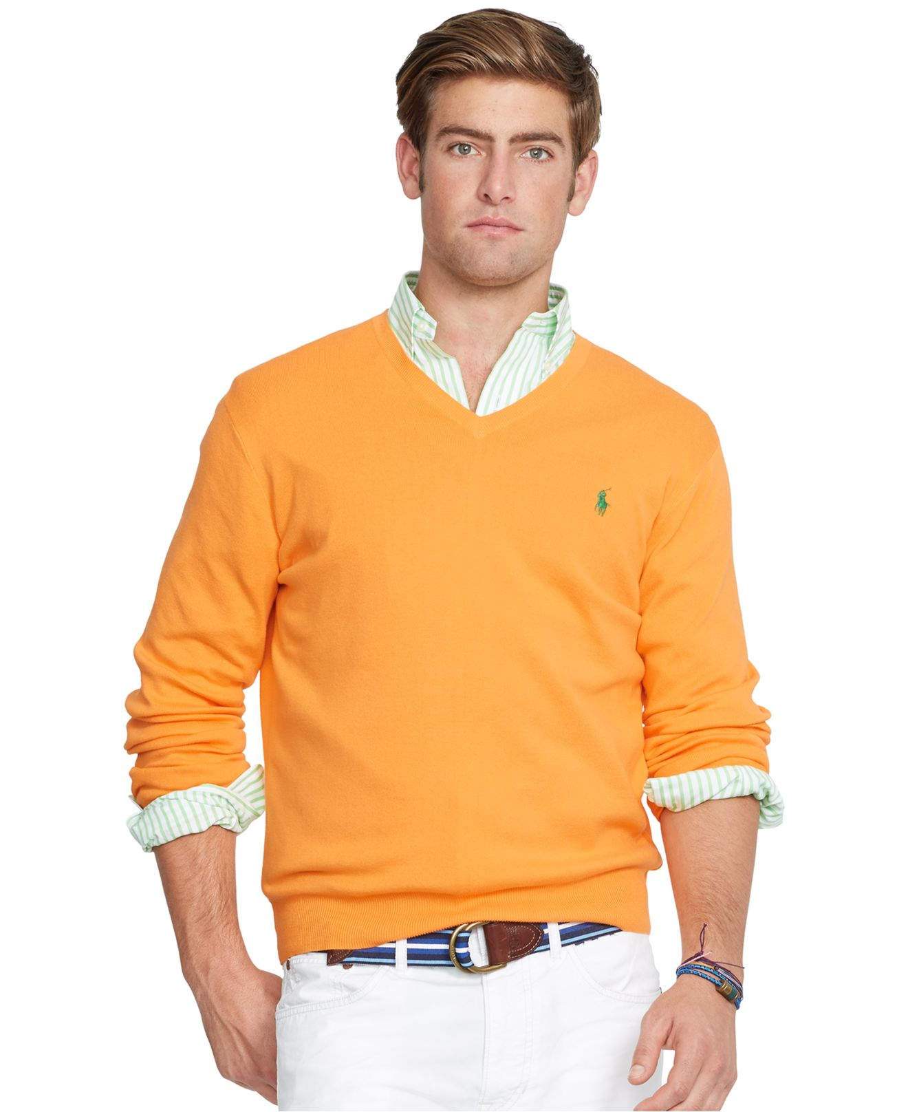 polo ralph lauren pima v neck sweater in orange for men hot coral lyst. Black Bedroom Furniture Sets. Home Design Ideas