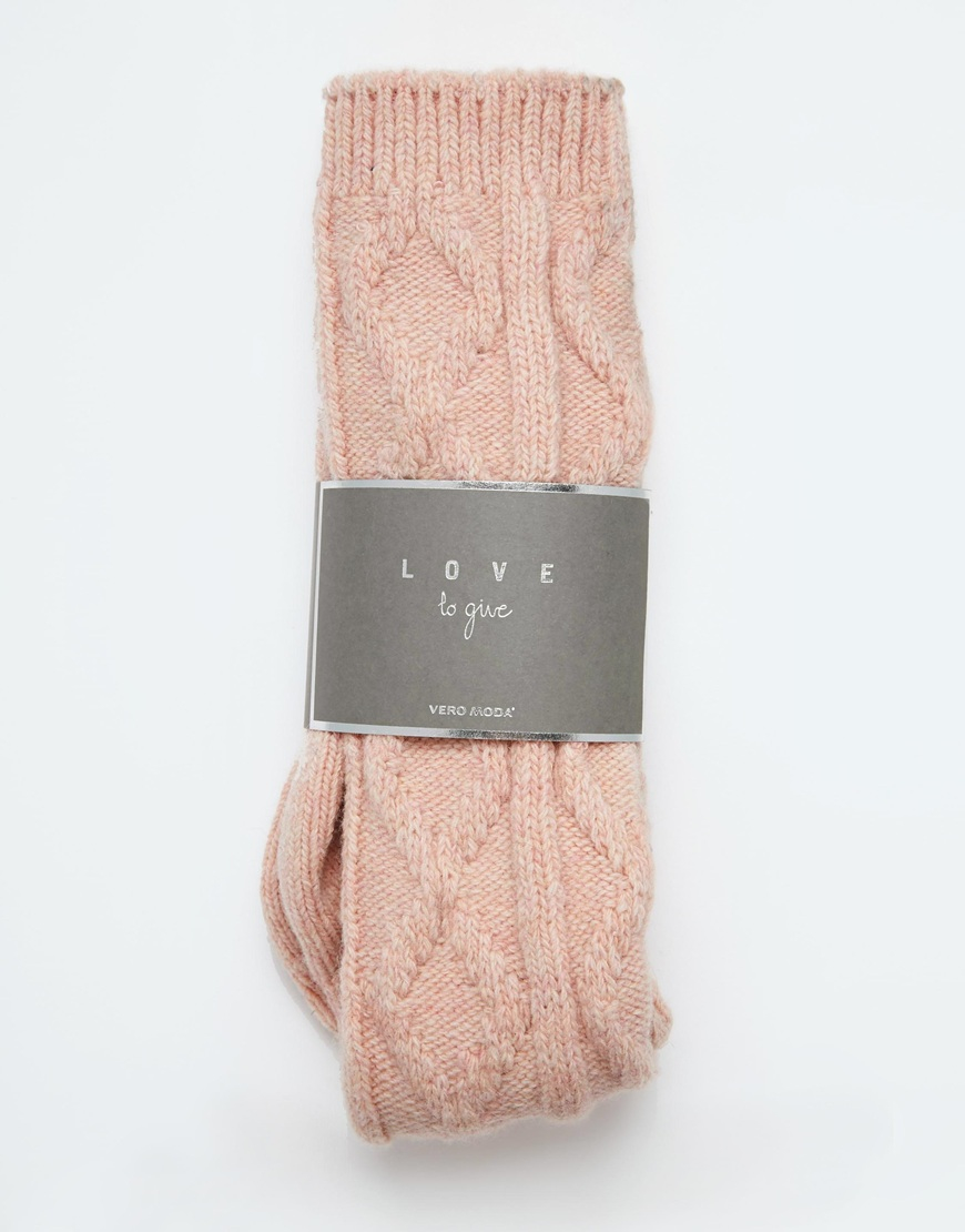 Knitting Chunky Socks : Vero moda chunky cable knit socks in pink lyst