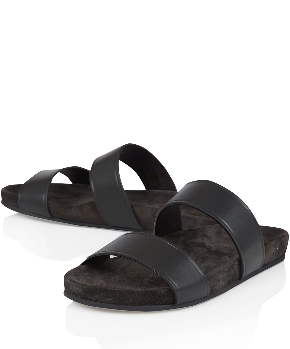Lanvin Black Double Strap Sandals In Black For Men Lyst