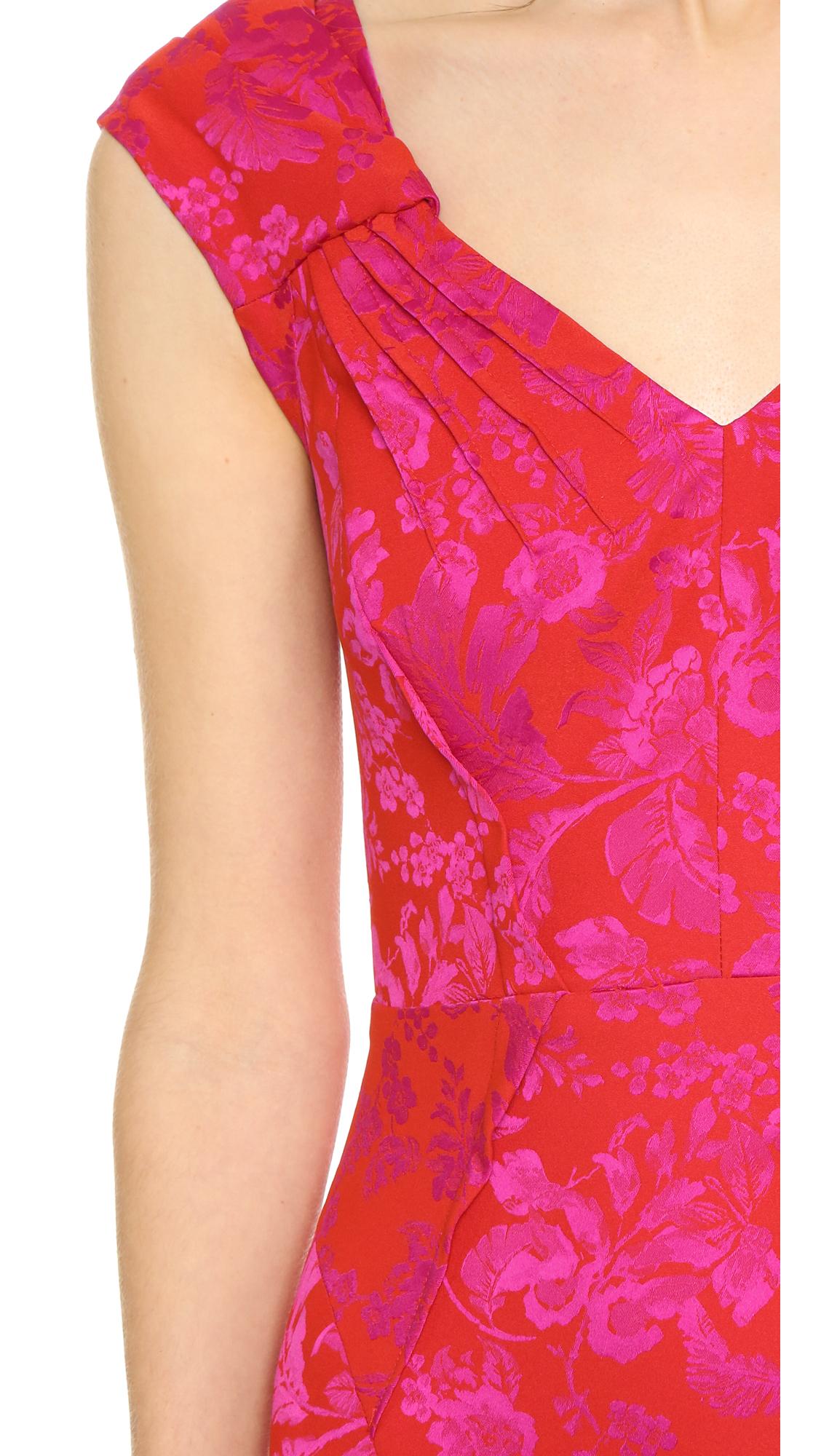 Lyst - Zac Posen Cap Sleeve Gown in Pink