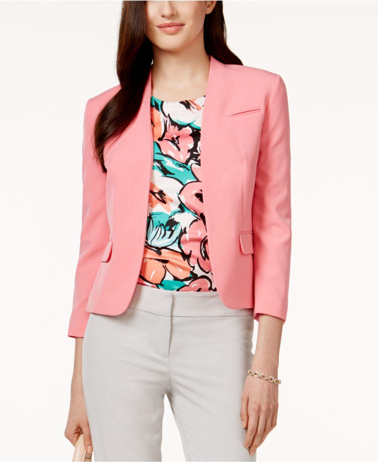 Nine west Three-quarter-sleeve Collarless Jacket in Pink | Lyst