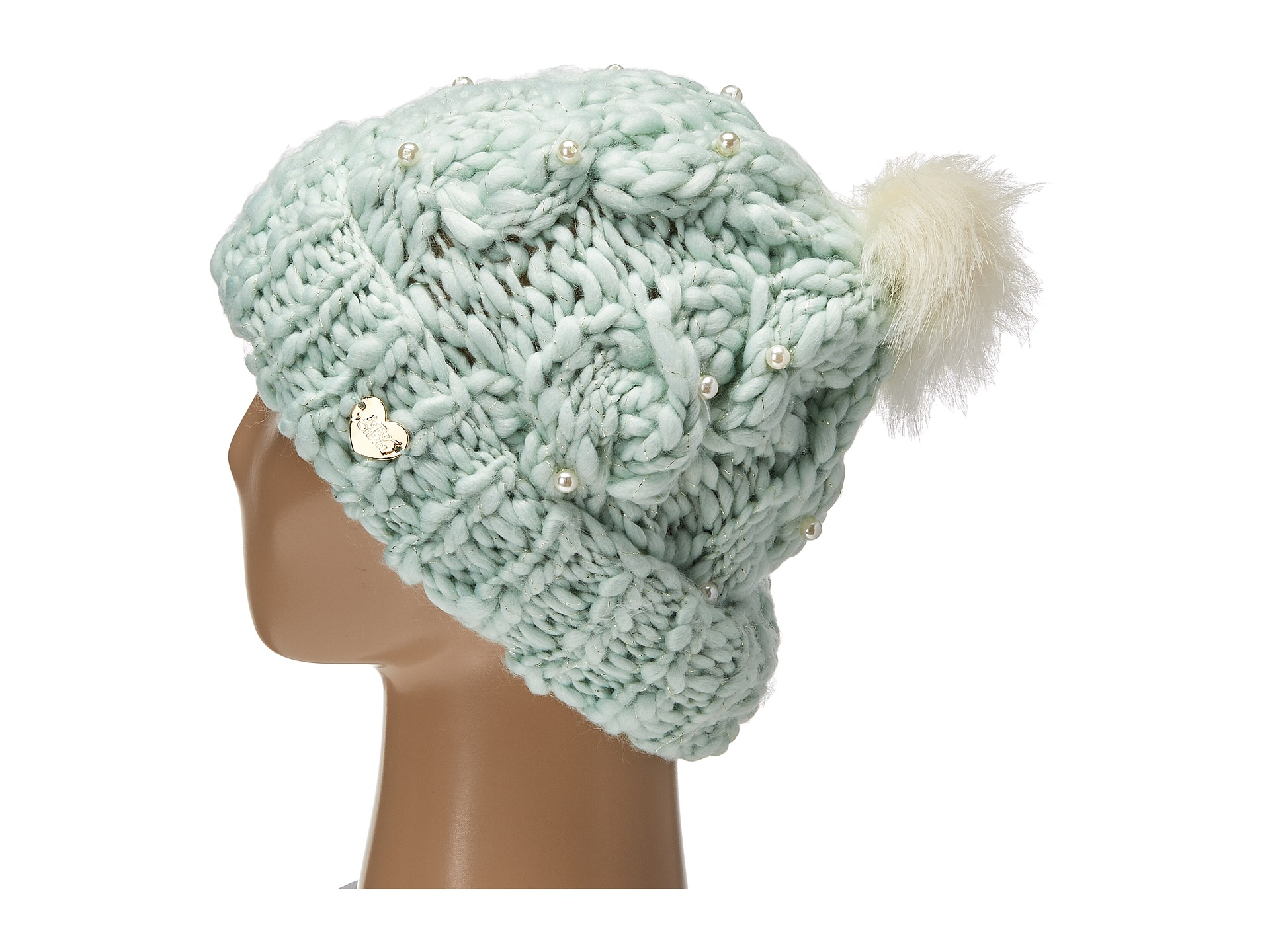770f34bb38bf0 Lyst - Betsey Johnson Pearly Girl Cuff Hat in Blue