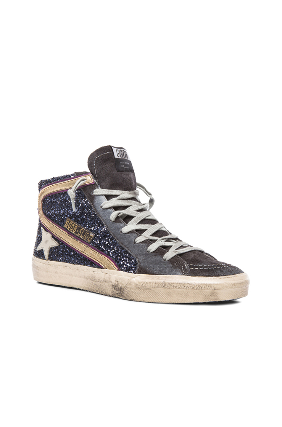 golden goose deluxe brand slide glitter sneakers in blue lyst. Black Bedroom Furniture Sets. Home Design Ideas