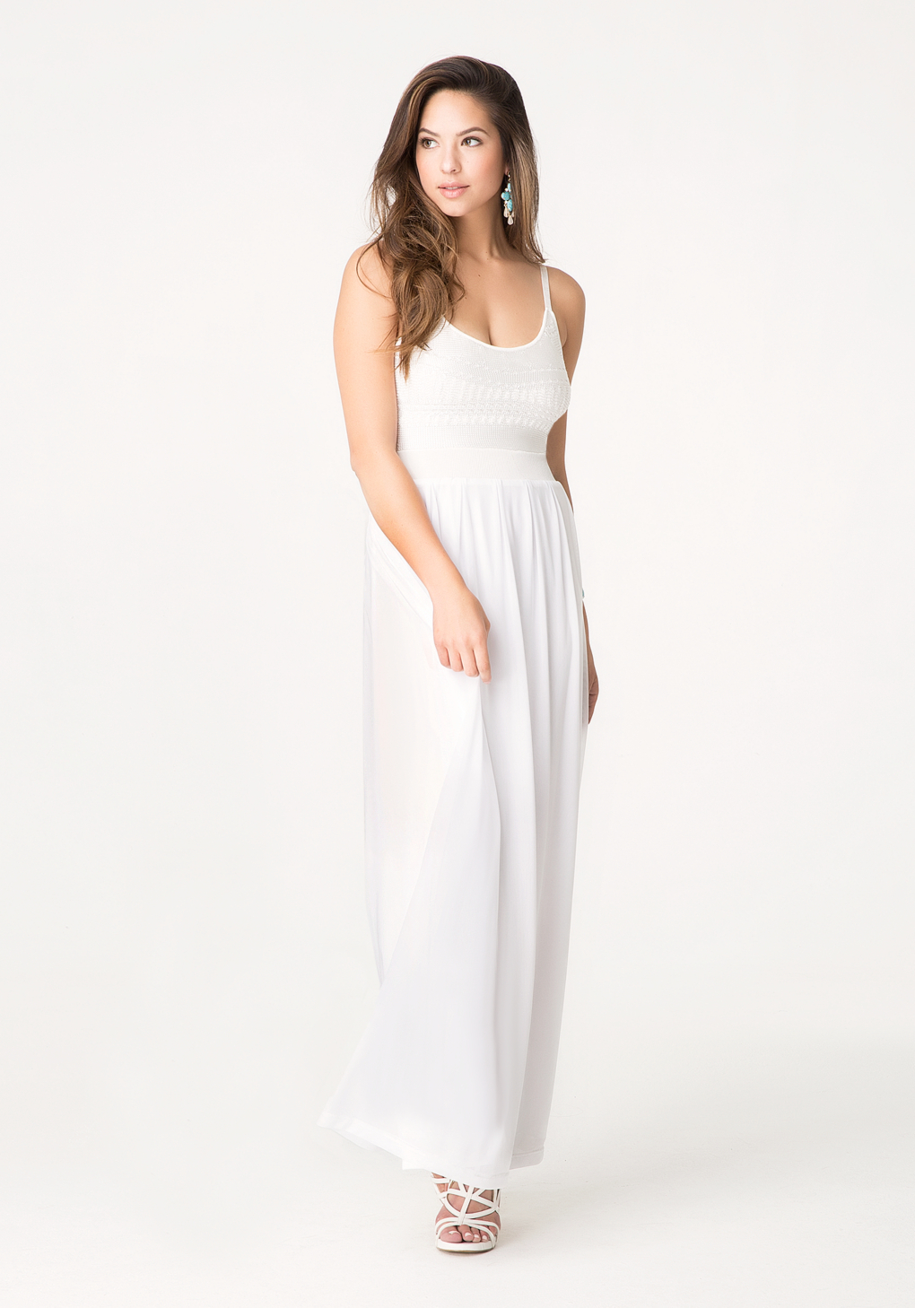 Bebe Petite 2-Fer Maxi Dress in White | Lyst