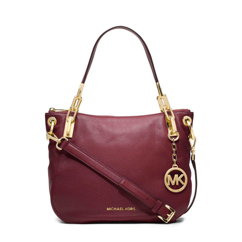 Michael Kors Brooke Leather Medium Shoulder Bag In Purple