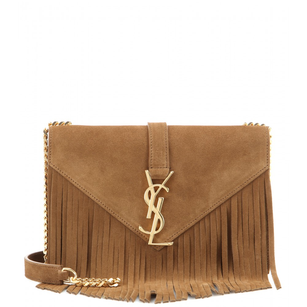 d77f683725f5 Lyst - Saint Laurent Classic Monogram Small Fringed Suede Shoulder Bag in  Brown