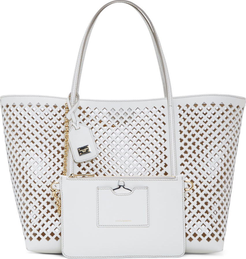 63f33b1ad5d3 Lyst - Dolce   Gabbana White Grained Leather Lattice Perforated Tote ...