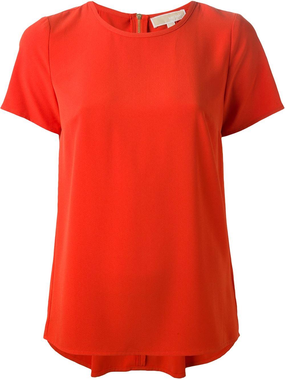 michael michael kors pleated back t shirt in orange yellow orange lyst. Black Bedroom Furniture Sets. Home Design Ideas