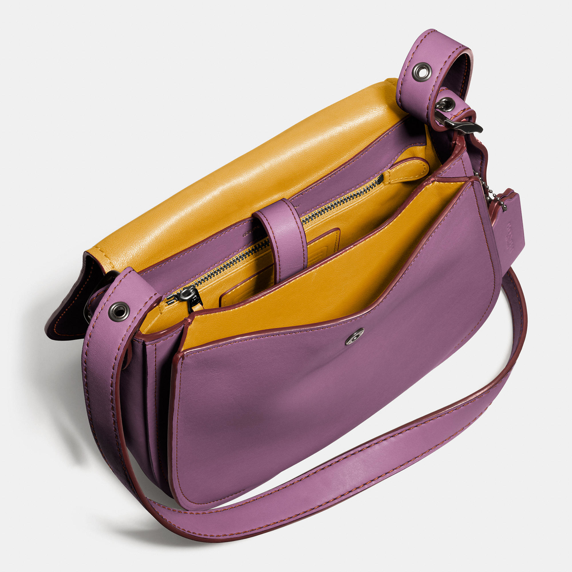 a8add02bf1c2f ... sale lyst coach 23 leather saddle bag in purple c33cd b6c51 ...