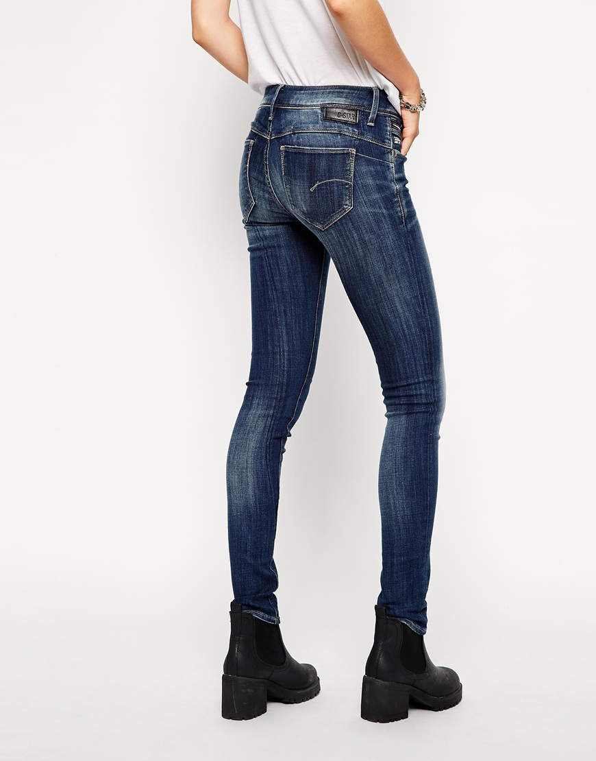 g star raw g star midge sculpted lift skinny jeans in blue. Black Bedroom Furniture Sets. Home Design Ideas