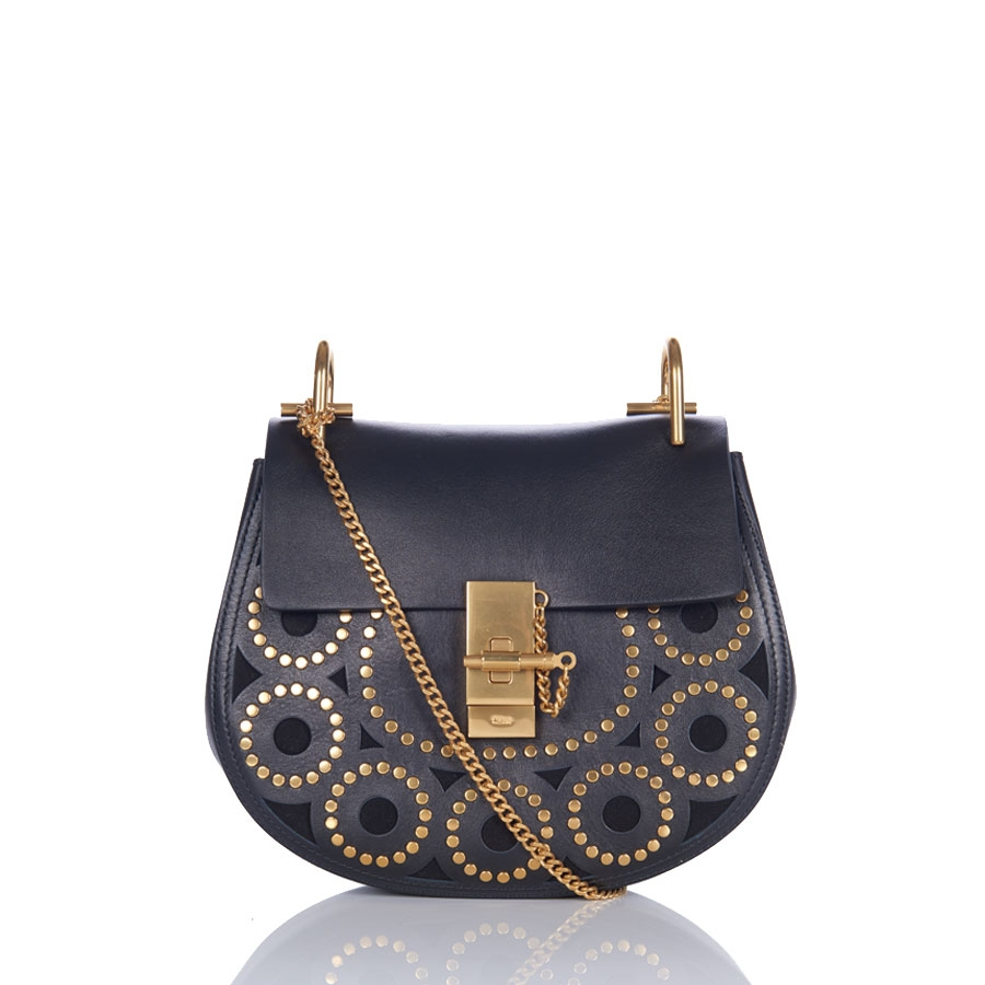 Chloé Drew Small Studded Leather Saddle Bag in Blue