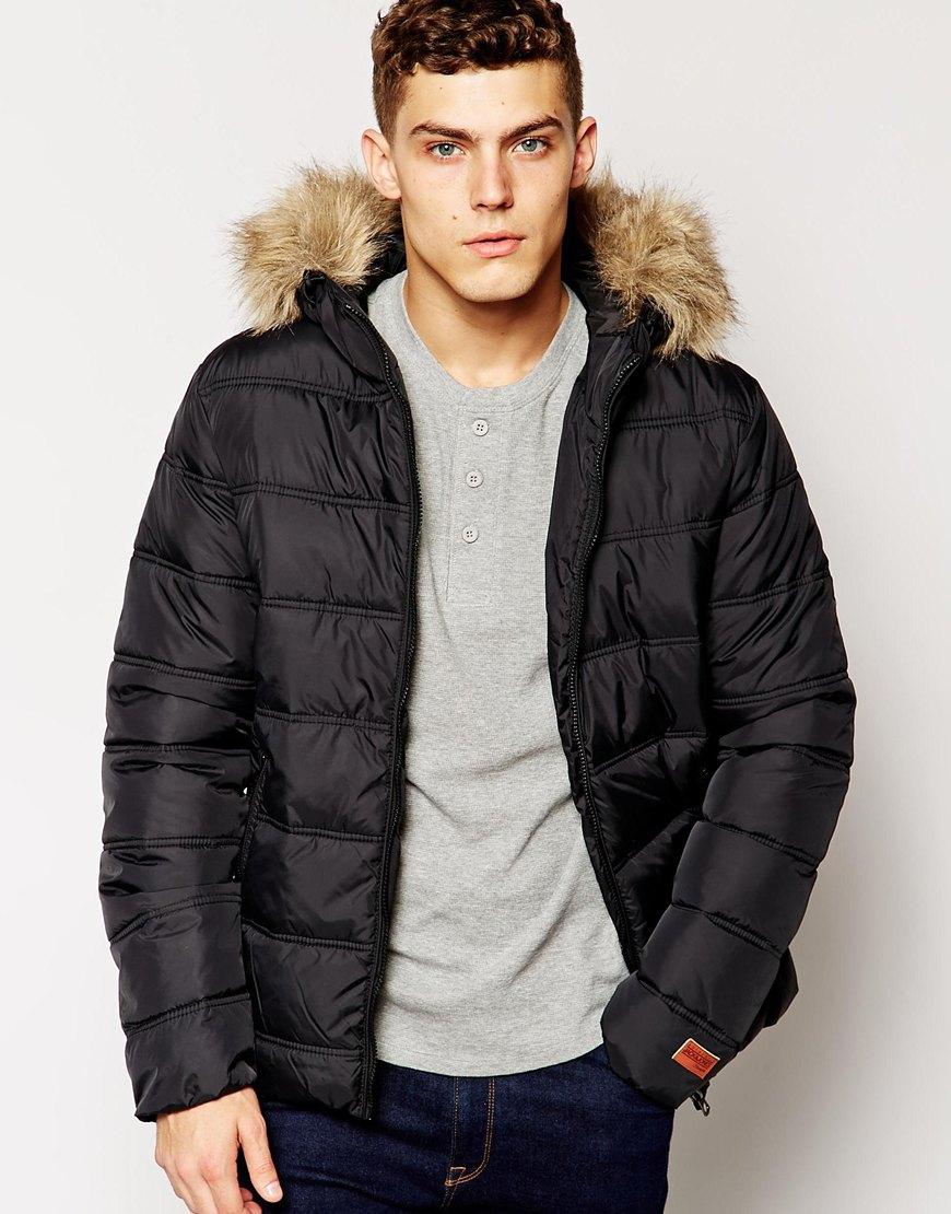 black faux fur hooded bomber jacket mens