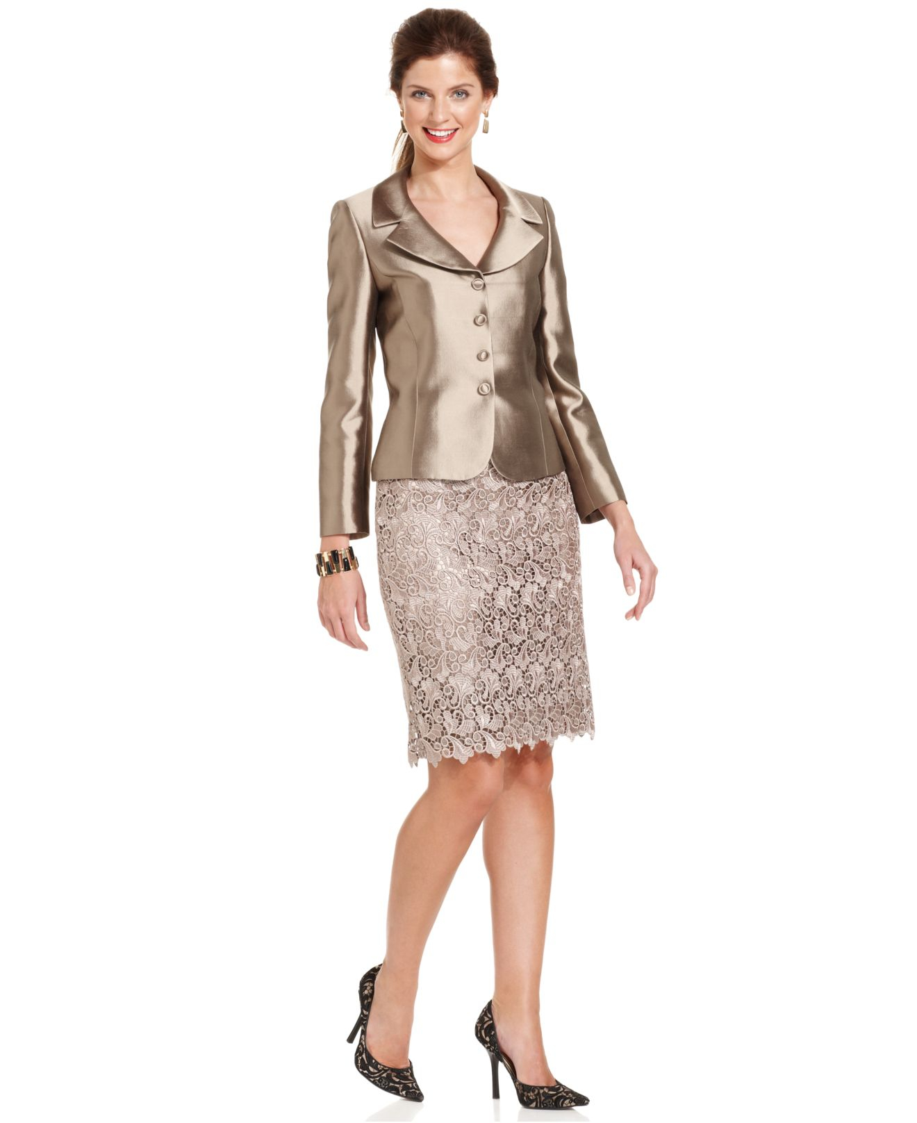 a046fa1c820a Tahari Three-button Metallic Lace Skirt Suit in Brown - Lyst