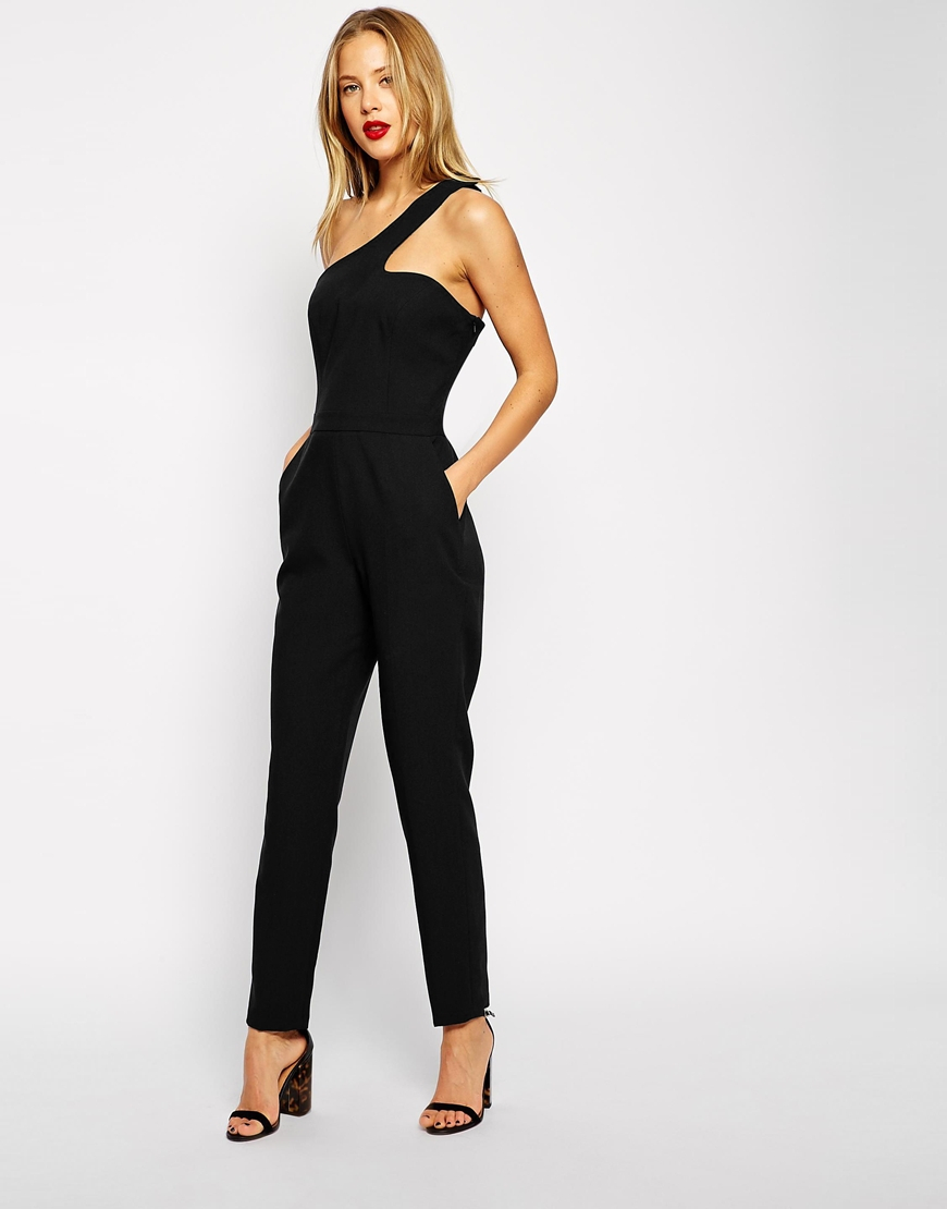 3bb6730a896 Lyst - Asos One Shoulder Cut Out Jumpsuit in Black