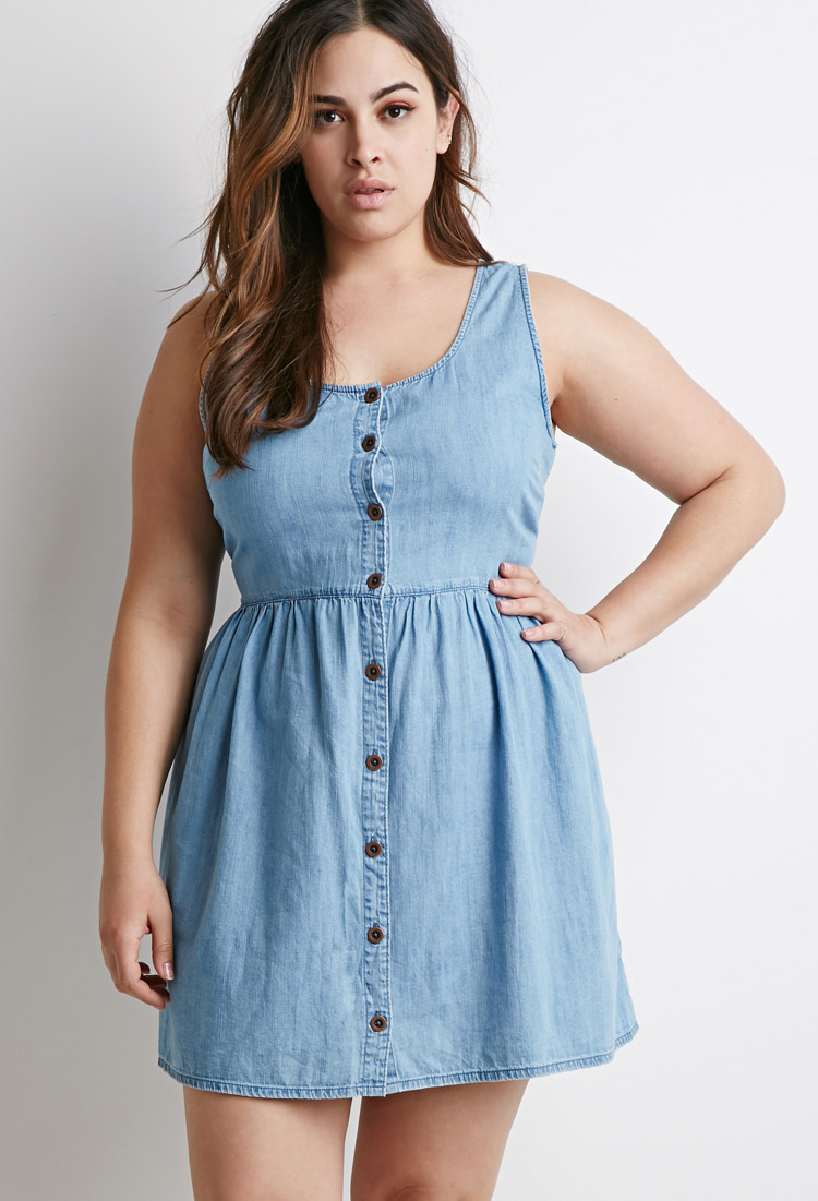 Lyst - Forever 21 Plus Size Buttoned Chambray Babydoll Dress in Blue