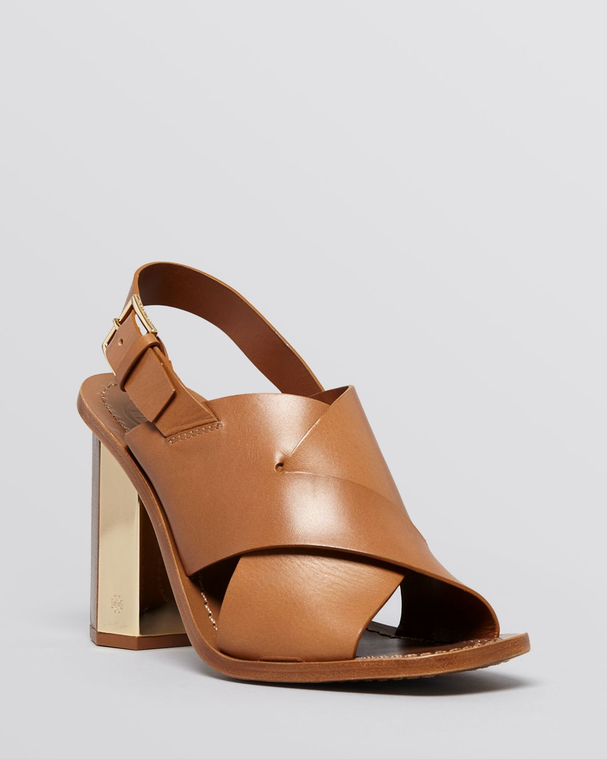 16c92dde09a Tory Burch Open Toe Slingback Sandals - Bleecker High Heel in Brown ...