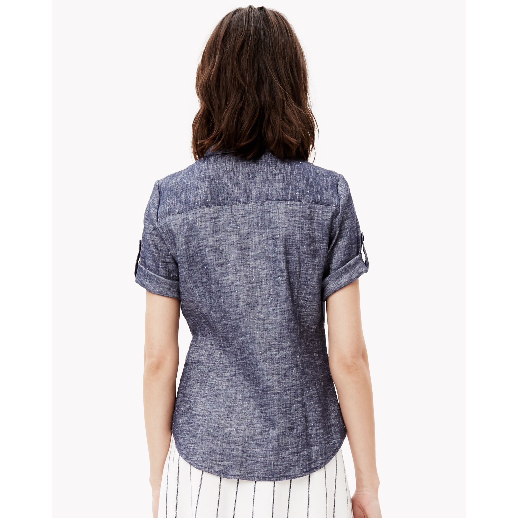 Theory linen chambray short sleeve shirt in blue lyst for Short sleeve chambray shirt women