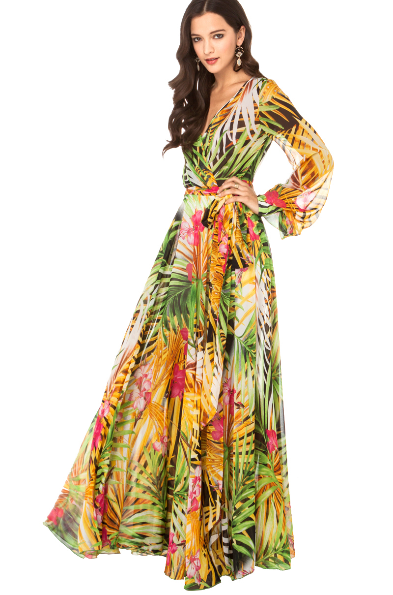 e24385453b0 Akira Black Label Tropical Print Flowy Maxi Dress in Yellow Green - Lyst