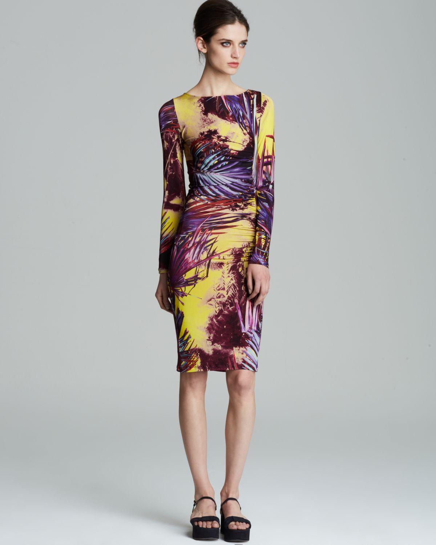 Jean paul gaultier dress fuzzi side palm print in purple for Jean paul gaultier clothing