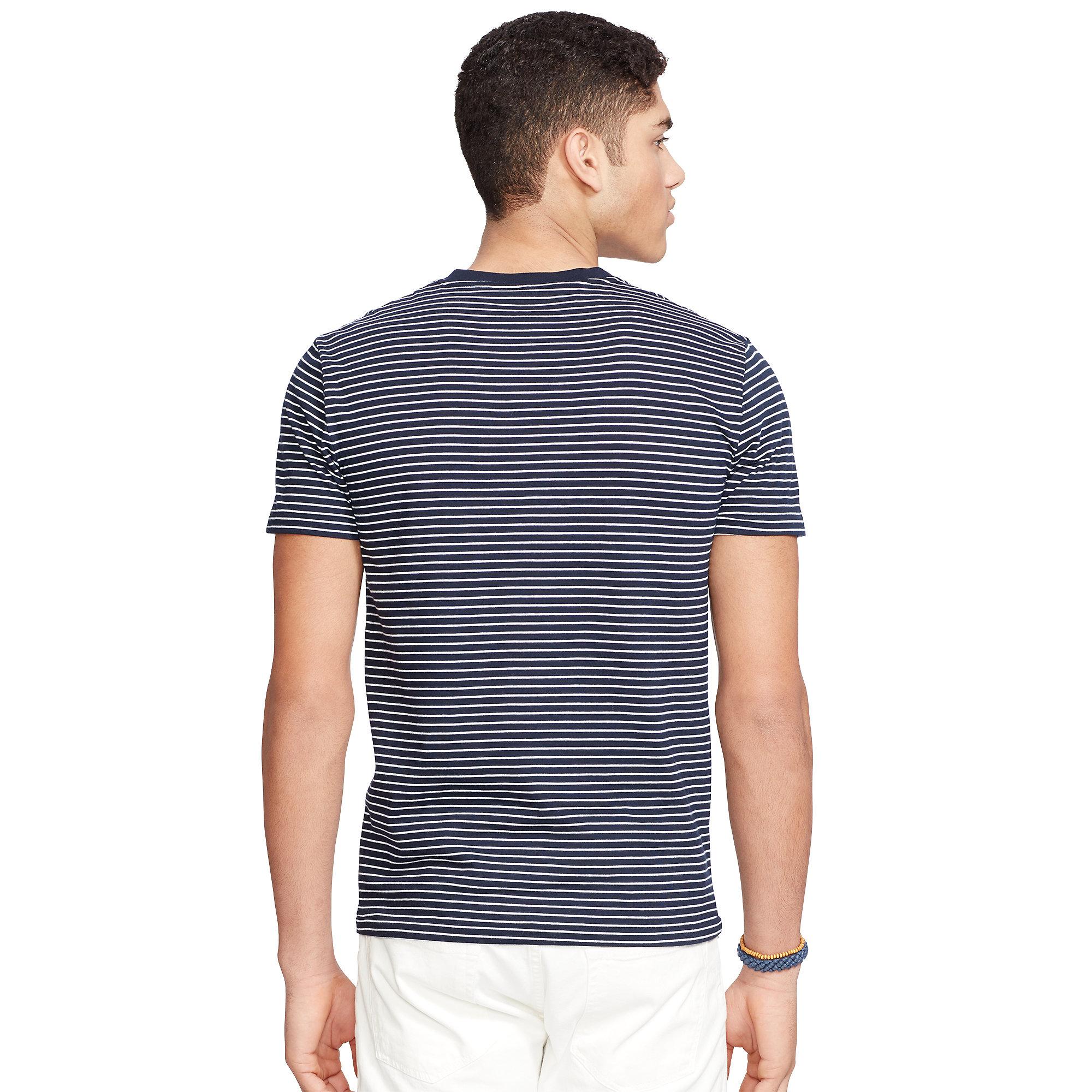 Polo ralph lauren custom fit striped t shirt in white for for Polo custom fit t shirts