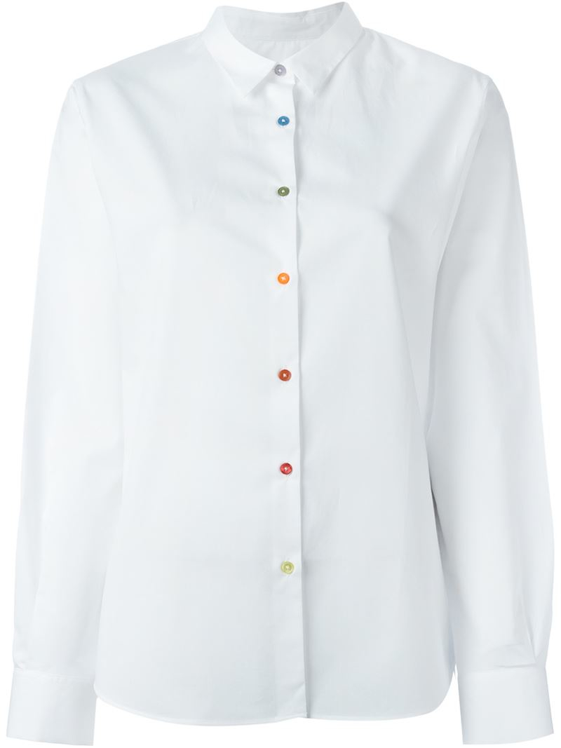 Paul by paul smith Colour Button Shirt in White | Lyst