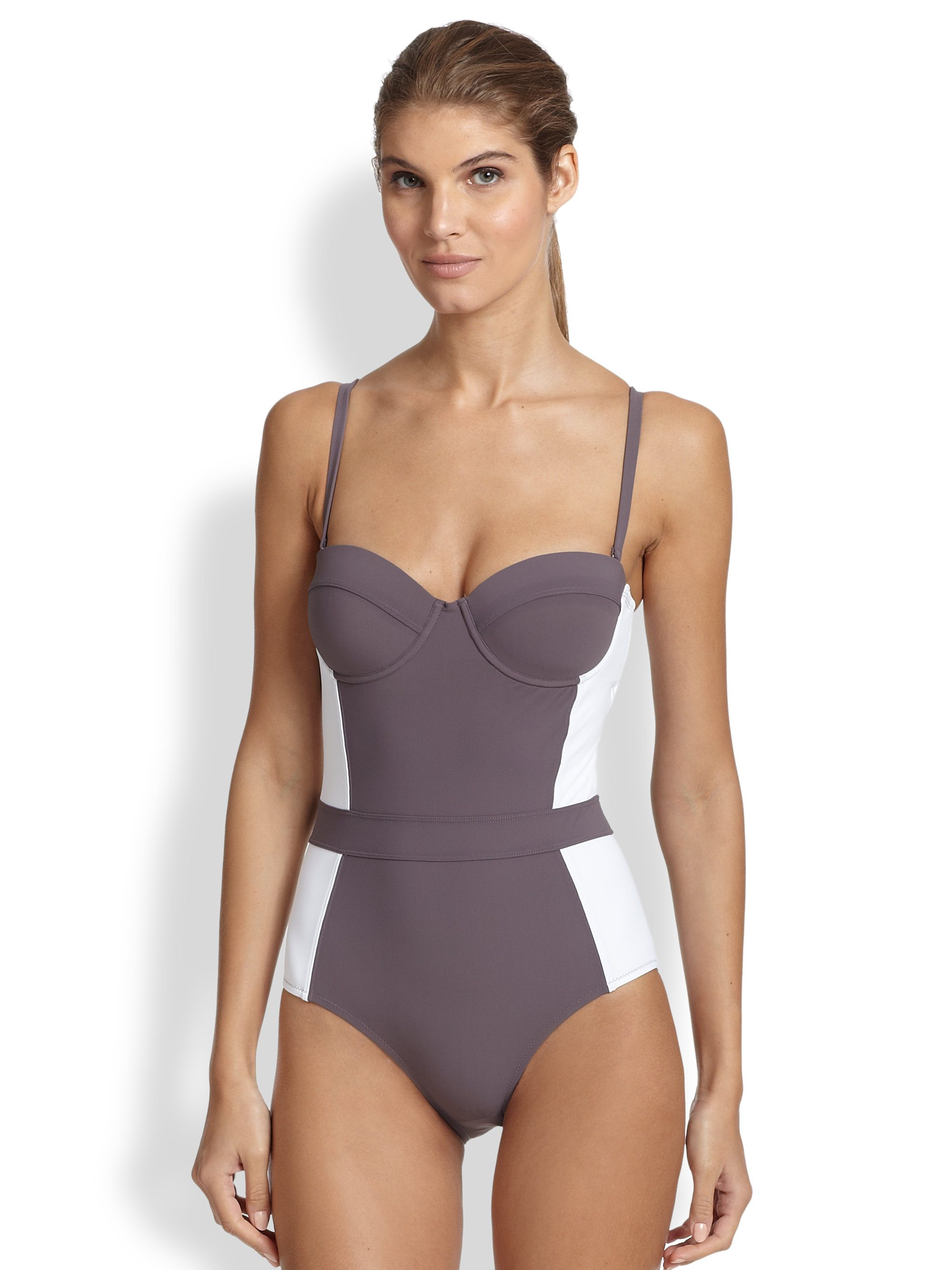 dfaf7c18fe3fc Lyst - Tory Burch Colorblock One-piece Swimsuit in Gray