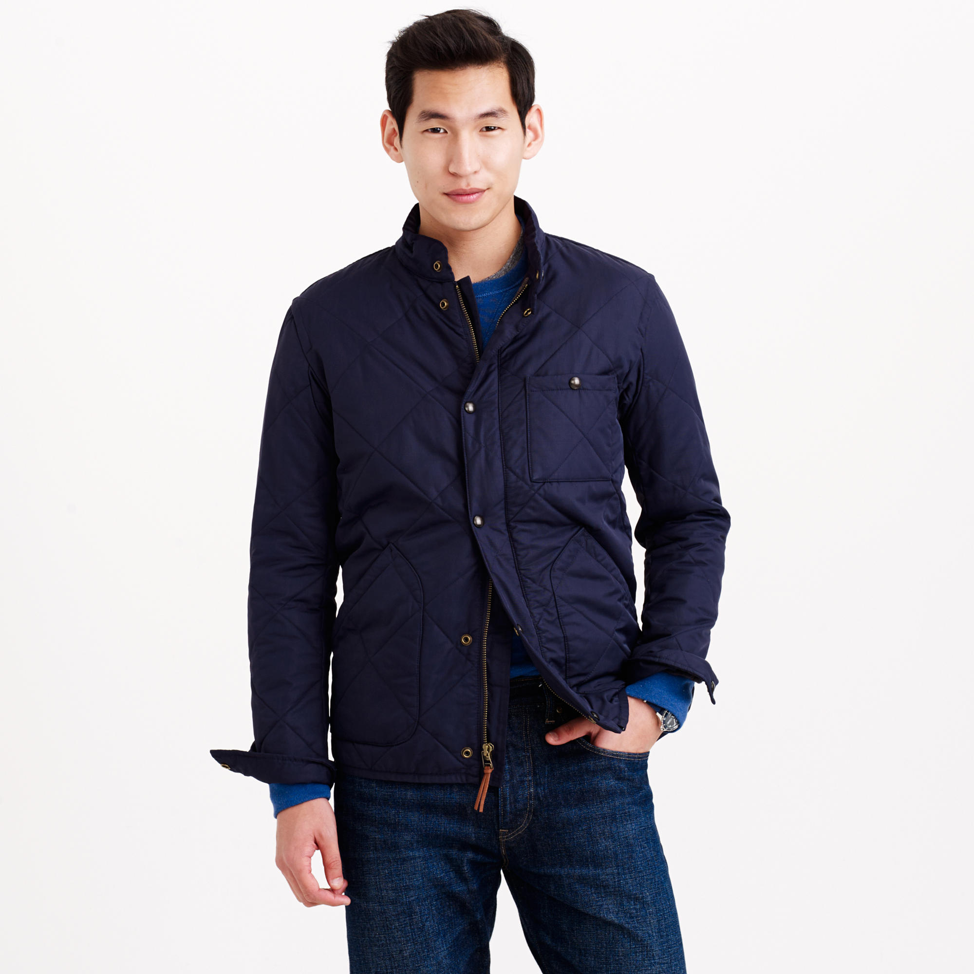 J Crew Sussex Quilted Jacket In Blue For Men Lyst