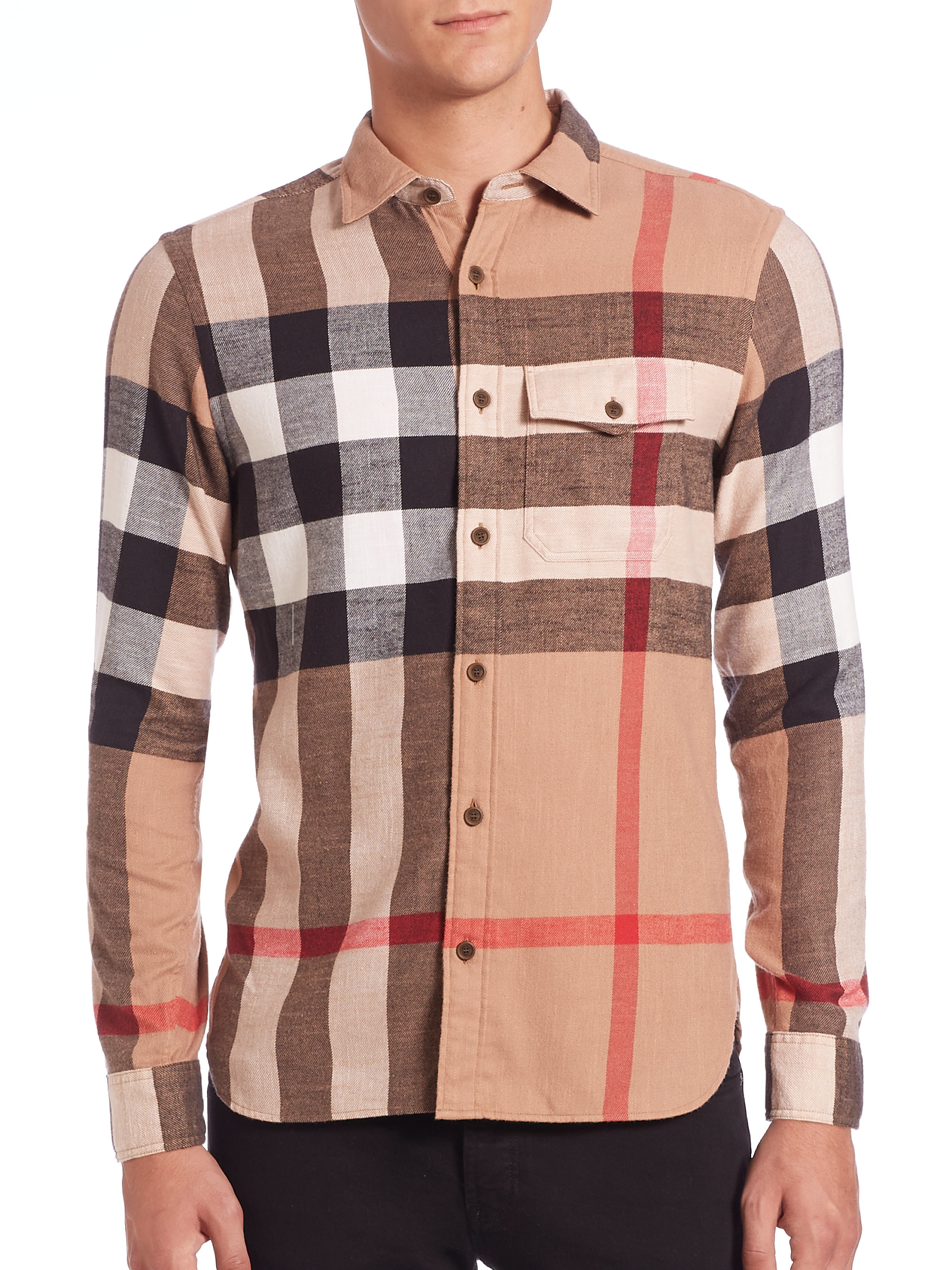 Burberry brit check shirt in natural for men lyst for Burberry brit checked shirt