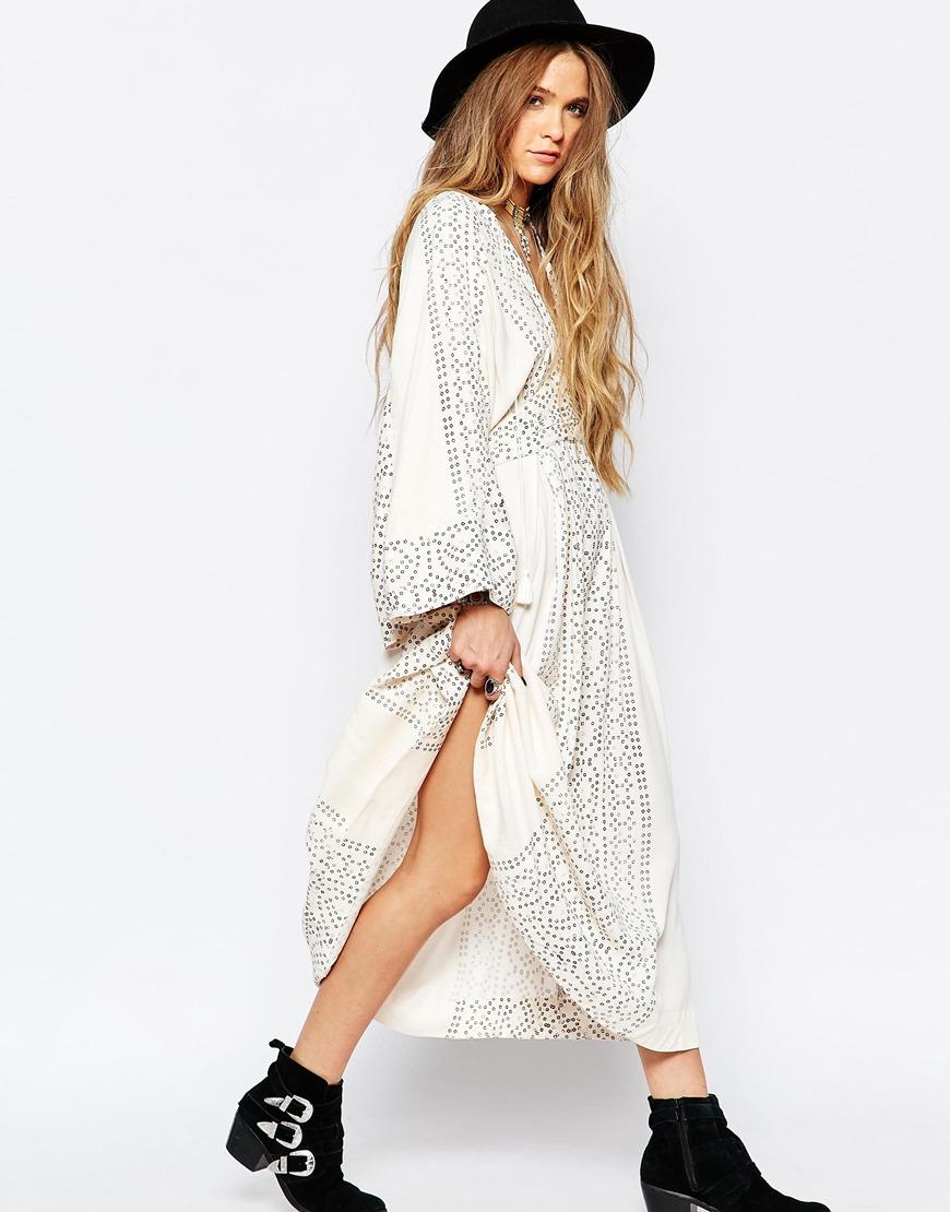 ae265e0e1a1e5 Free People Modern Kimono Maxi Dress In Pearl in Gray - Lyst