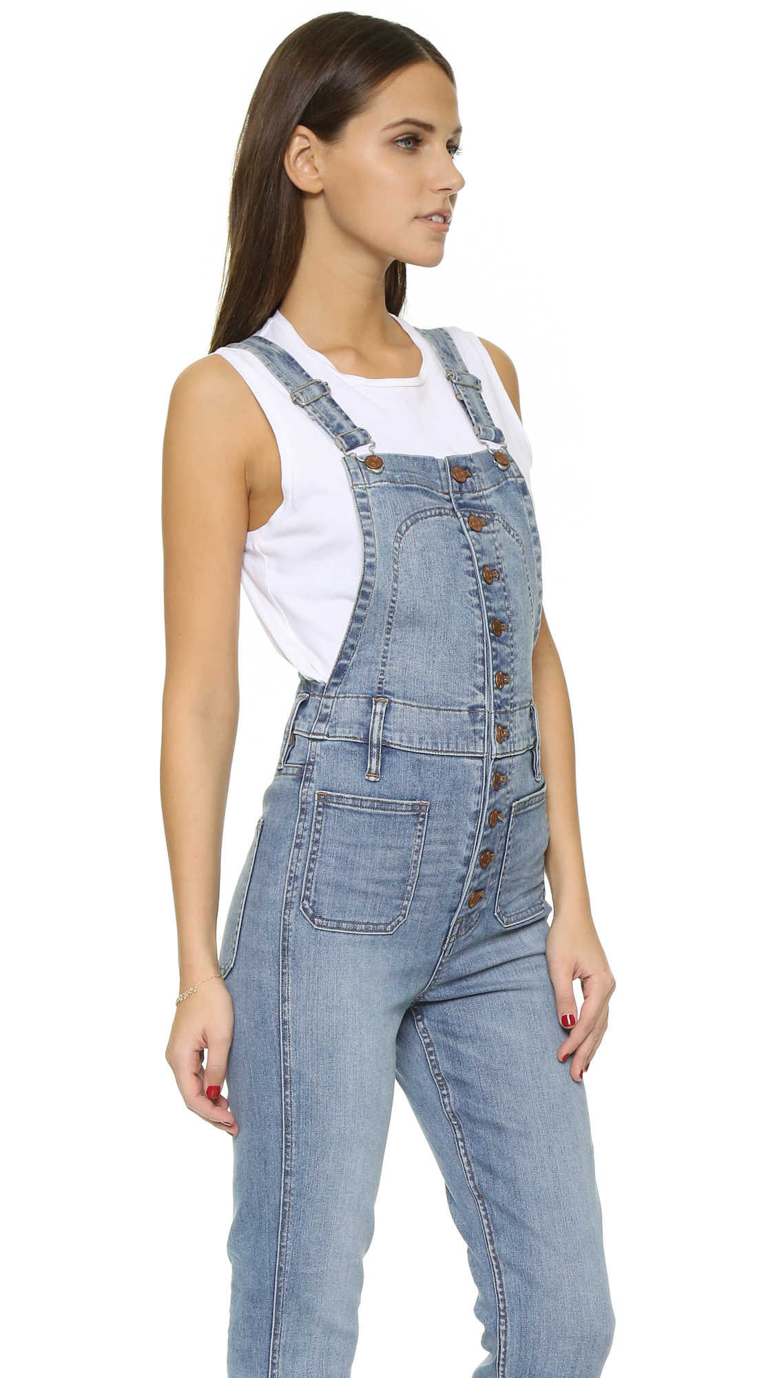 Overalls Are Making A Comeback As The Latest Fashion Trend: Madewell Cropped Overalls With Button Front In Blue