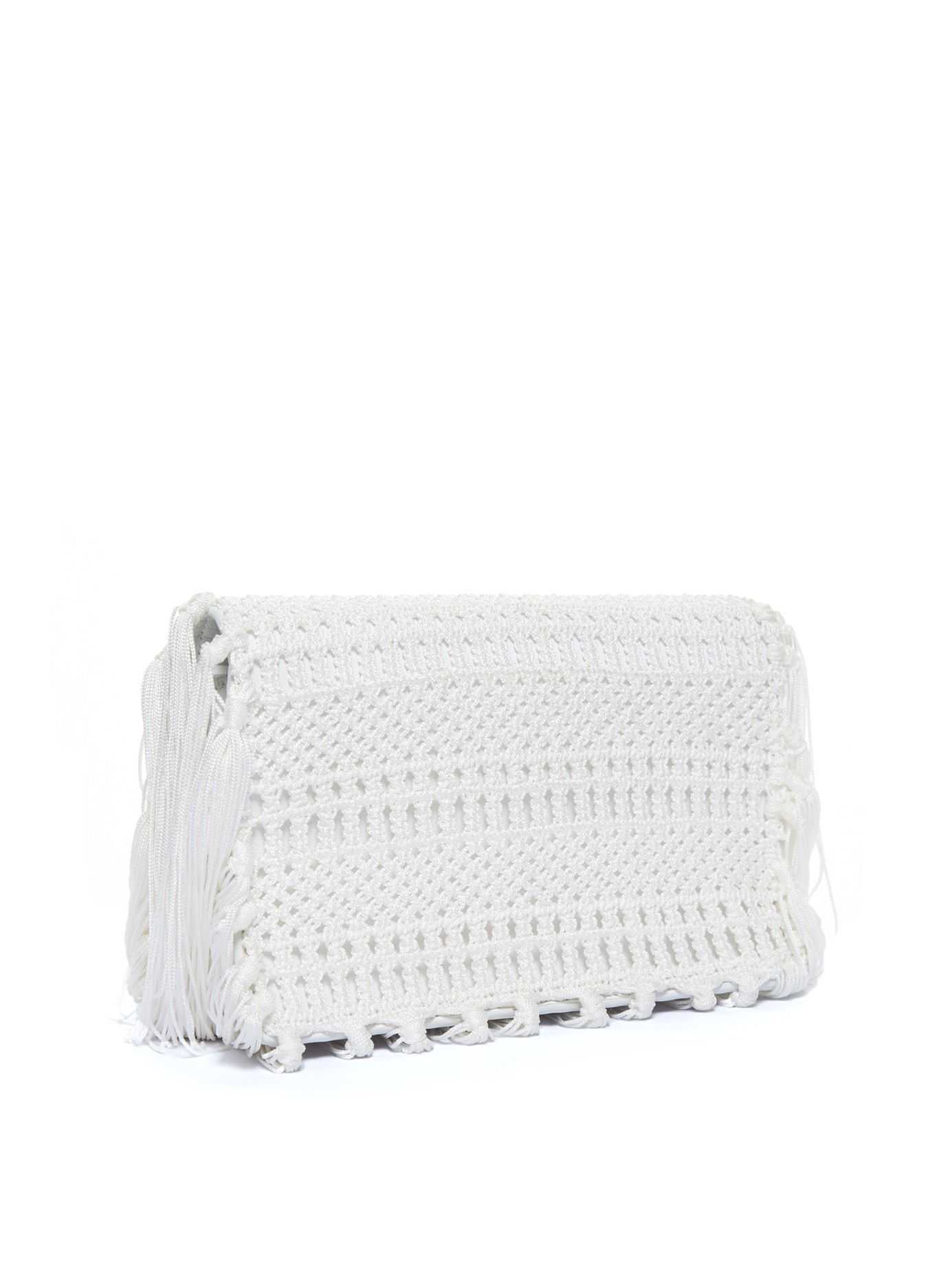monogram crochet fringe clutch bag white yves saint