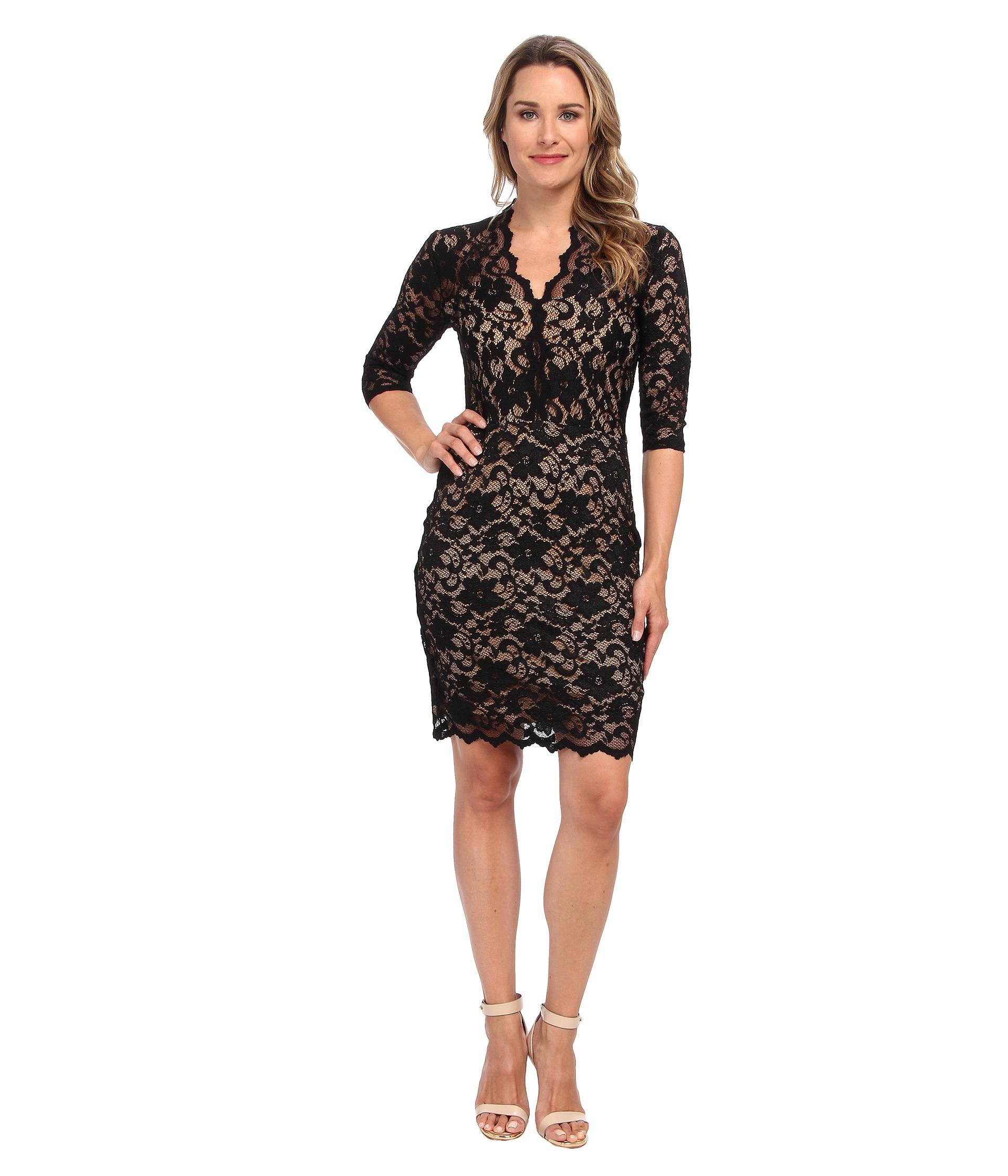 779fa5ad30e24 Lyst - Karen Kane V - Neck Scallop Hem Lace Dress in Black