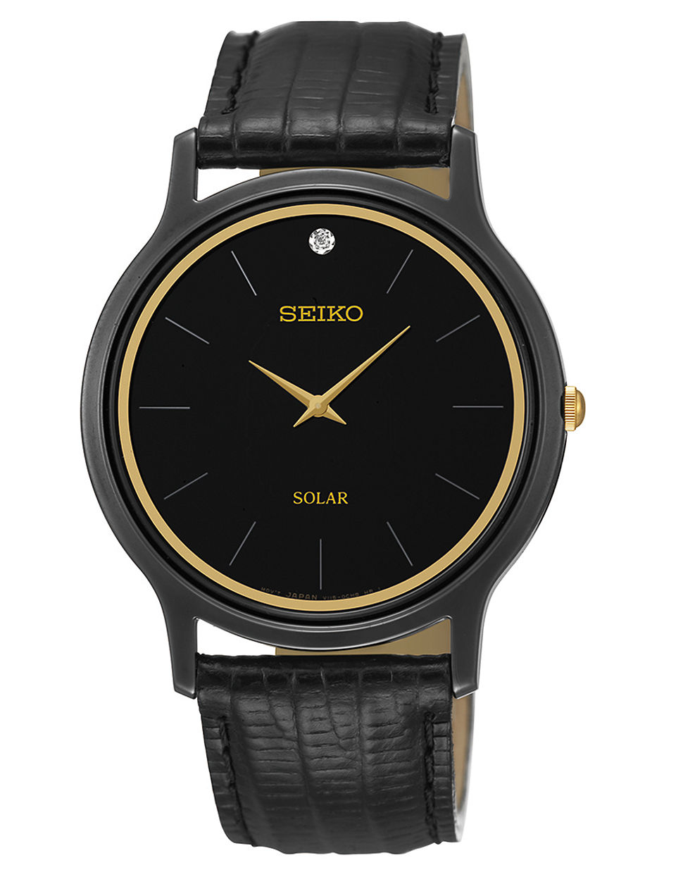 seiko mens black plated with leather in black
