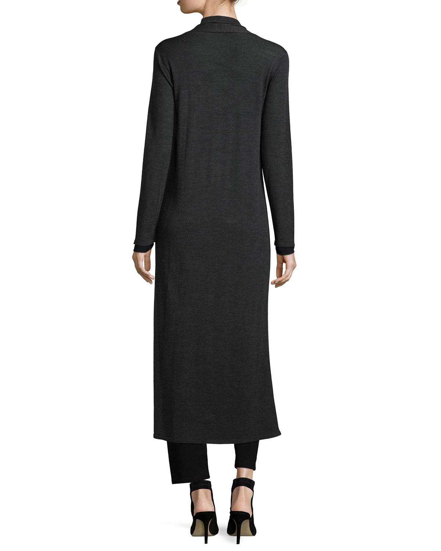 Eileen fisher Merino Wool Maxi Cardigan in Gray | Lyst