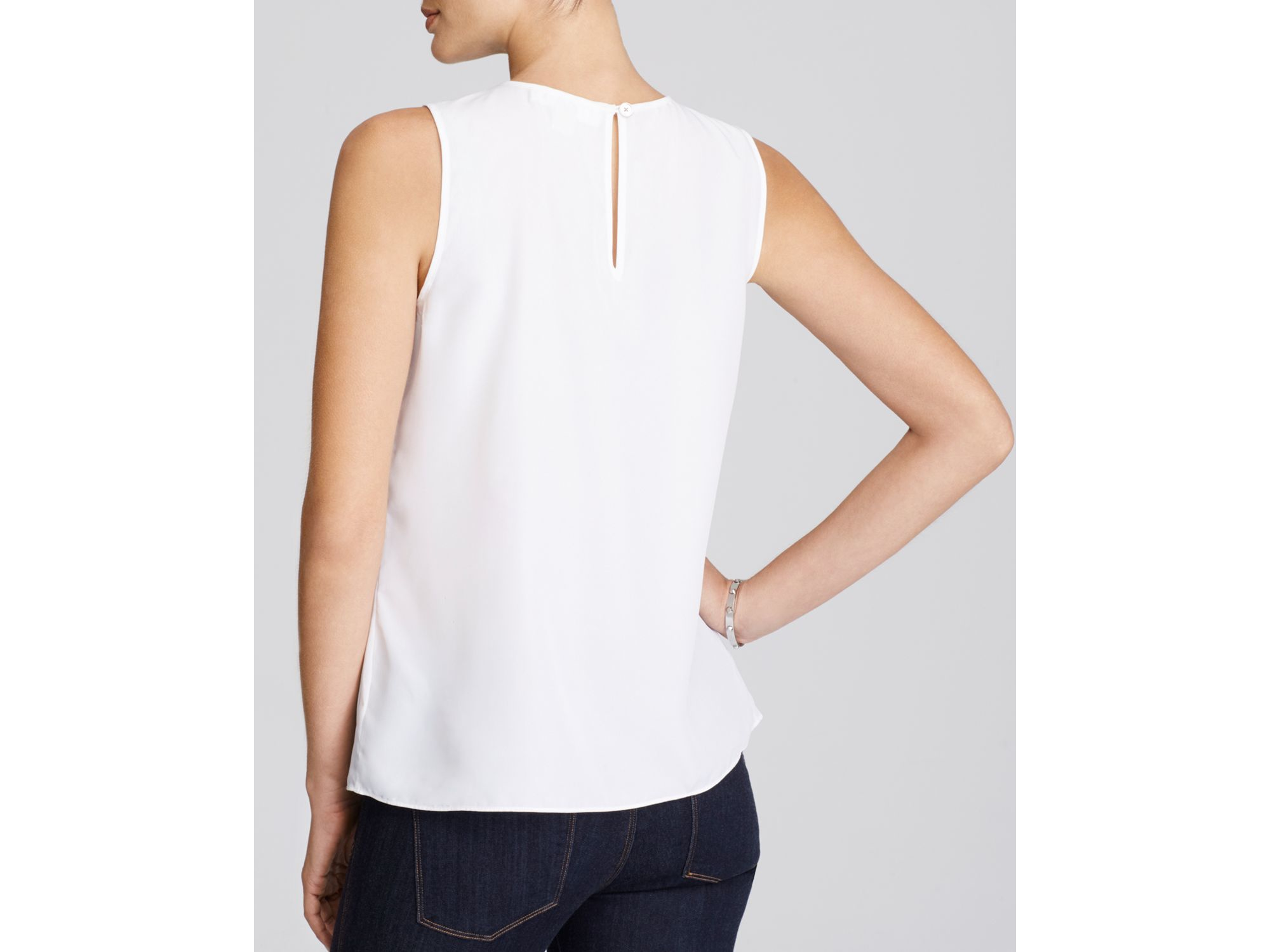 2cc8ddf77da45 Lyst - MICHAEL Michael Kors Sleeveless Pleated Top in White