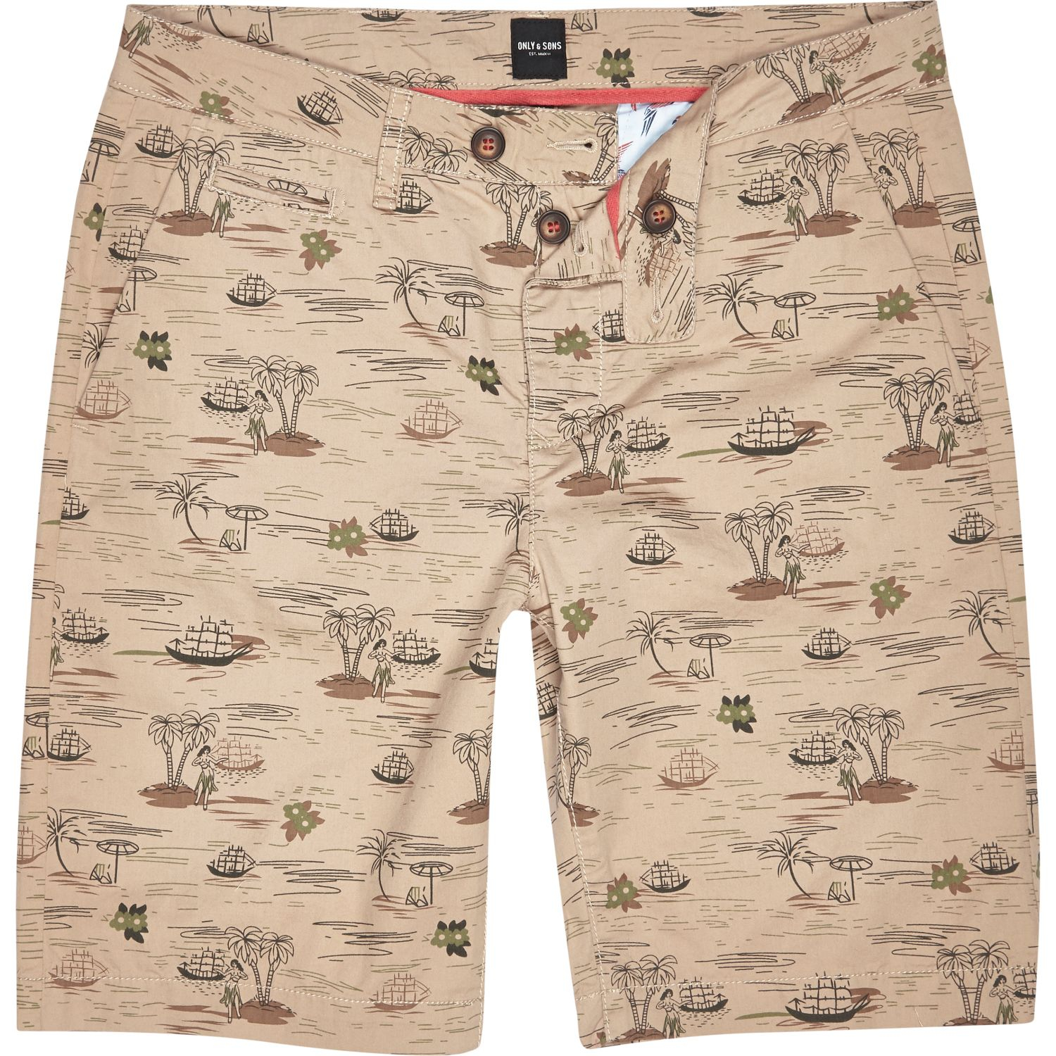 97a02e1e40 River Island Brown Only & Sons Hawaiian Print Chino Shorts in Brown ...