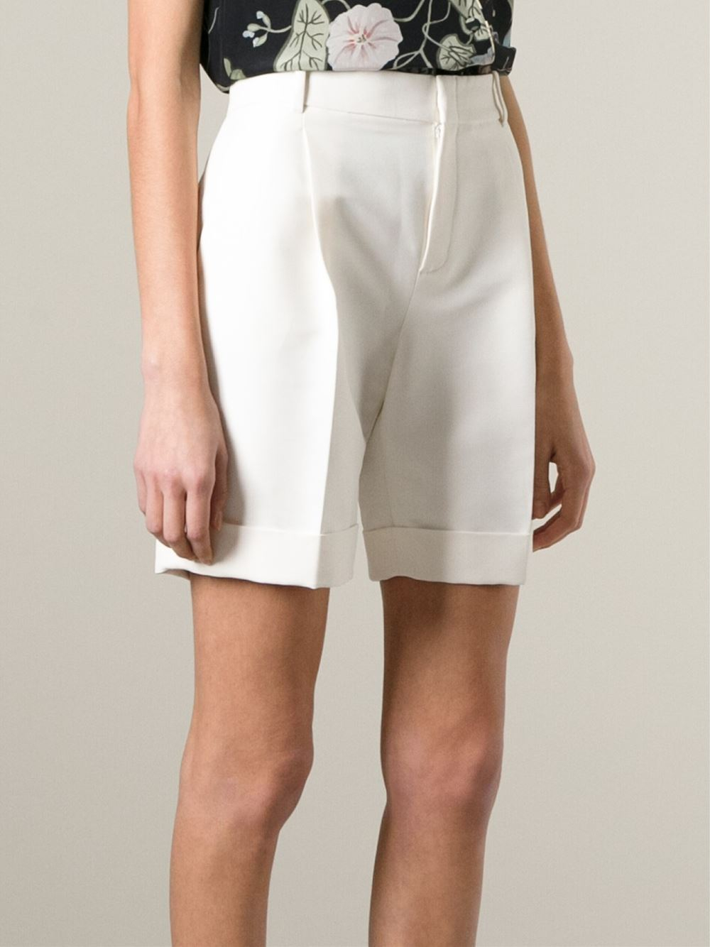 Gucci Pleated Bermuda Shorts In White Lyst