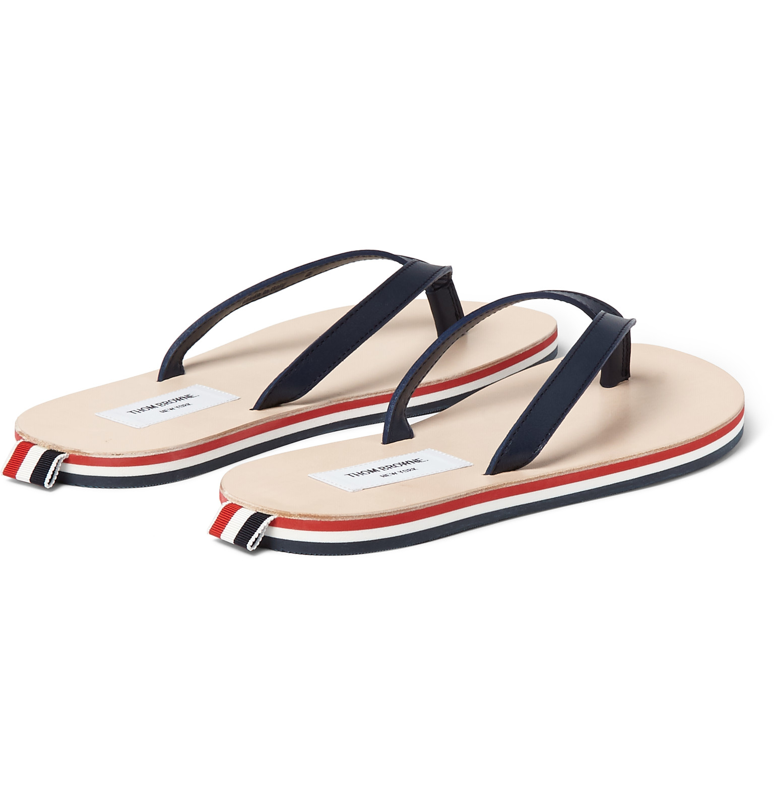 Thom BrowneStriped Leather Flipflops MqNsDtd