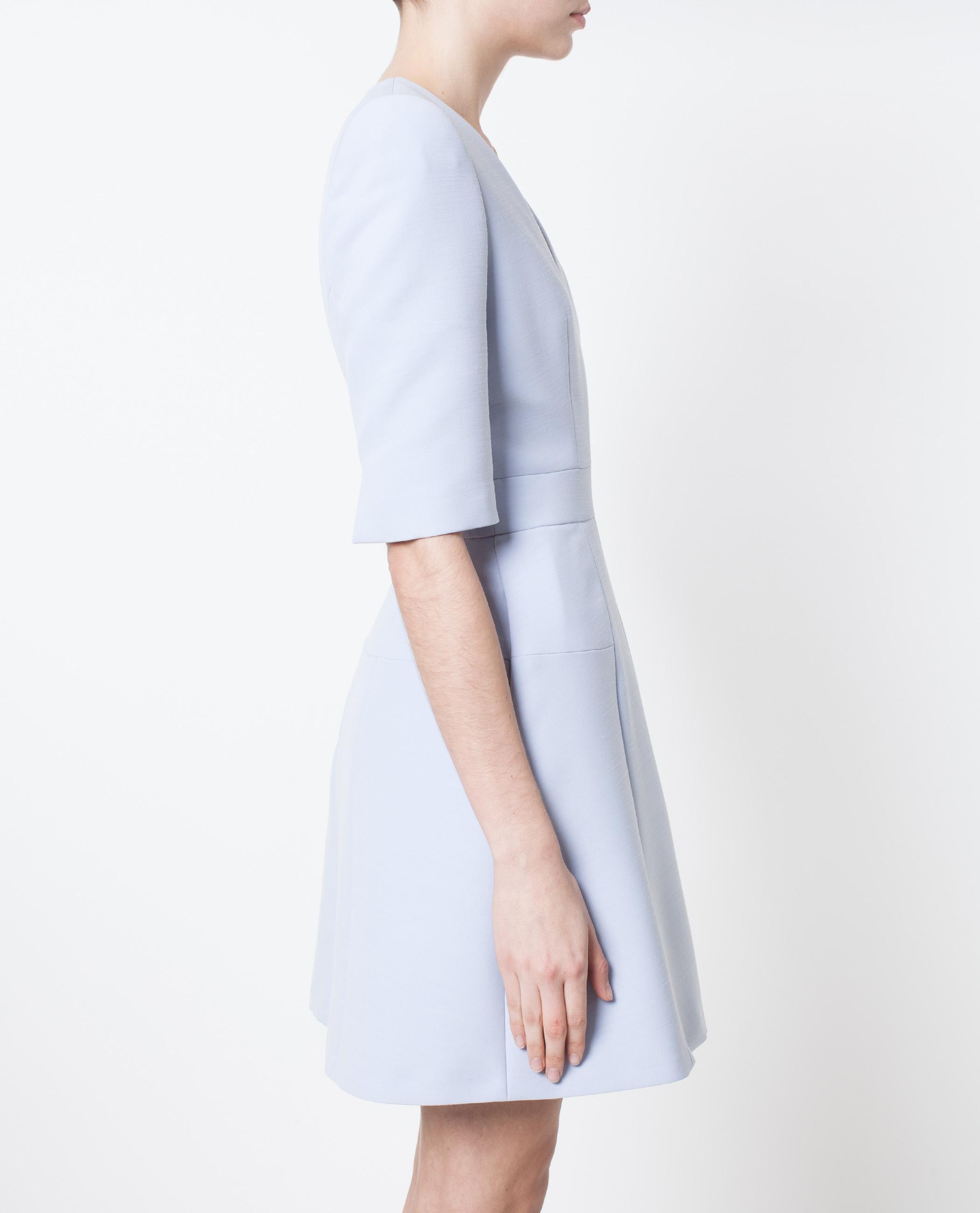 Lyst - Alexander McQueen Box Pleat Wool Mini Dress in Blue 9905dab4c