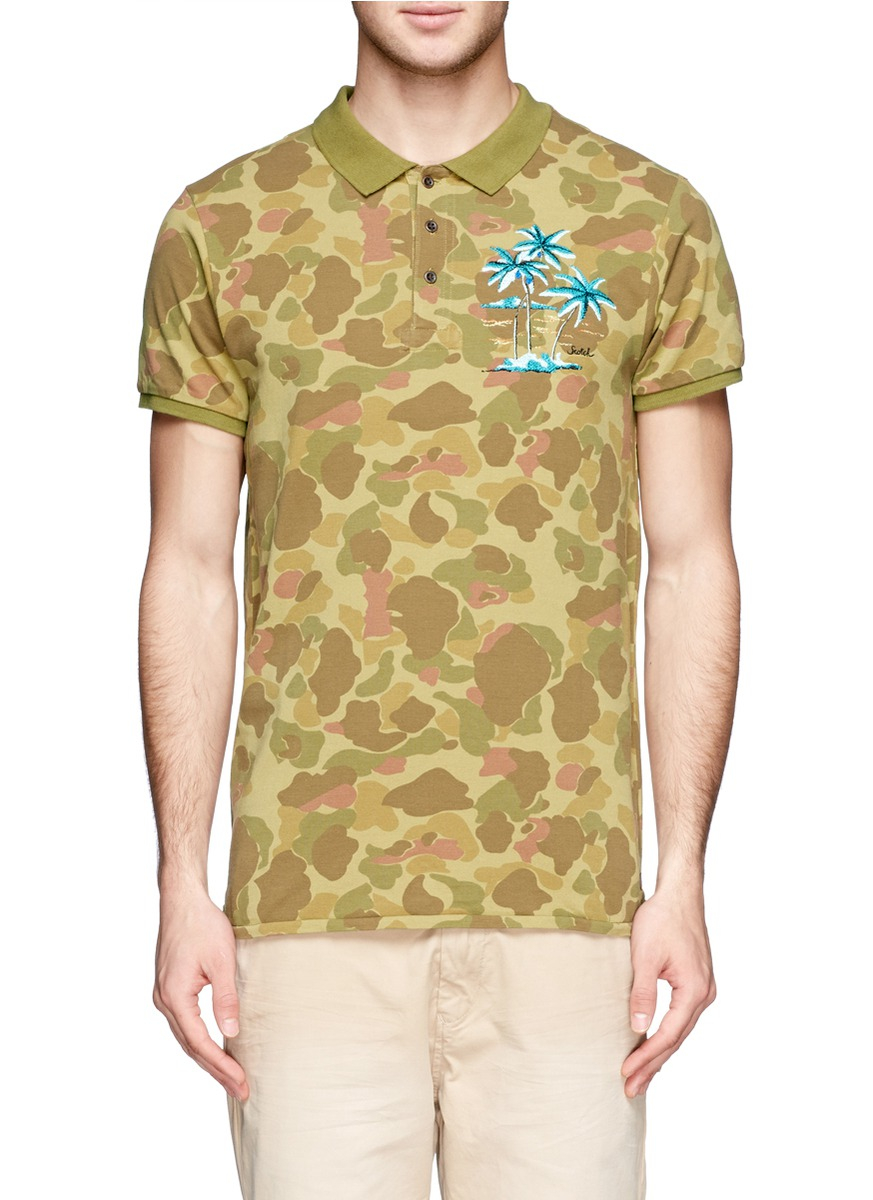 scotch soda camouflage print polo shirt in green for men blue and green lyst. Black Bedroom Furniture Sets. Home Design Ideas