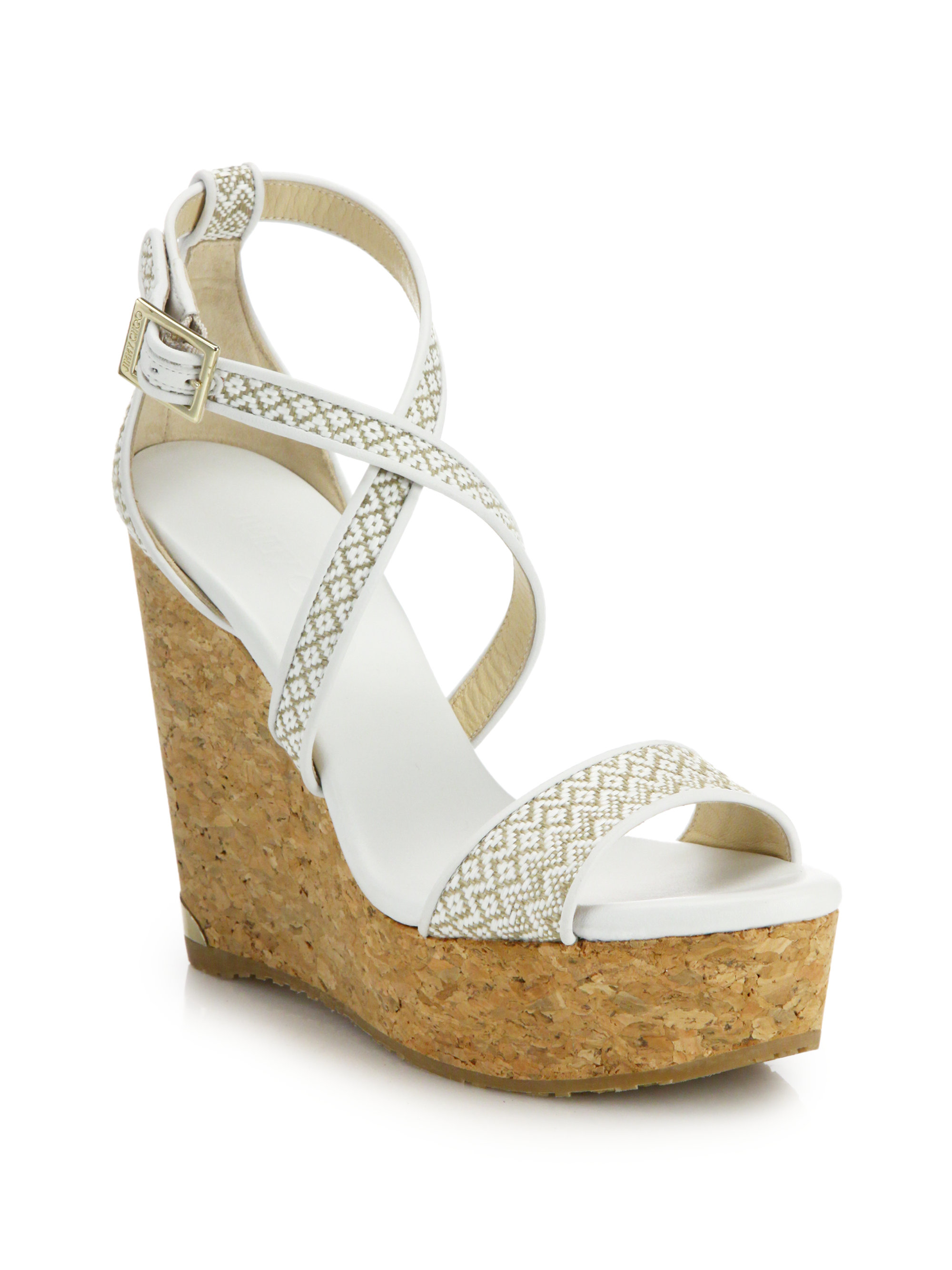 318567fa1b04 Lyst - Jimmy Choo Portia Woven Fabric   Cork Platform Wedge Sandals ...