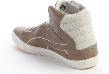 Puma White And Brown Leather Lace Up Hi Top Sneakers In