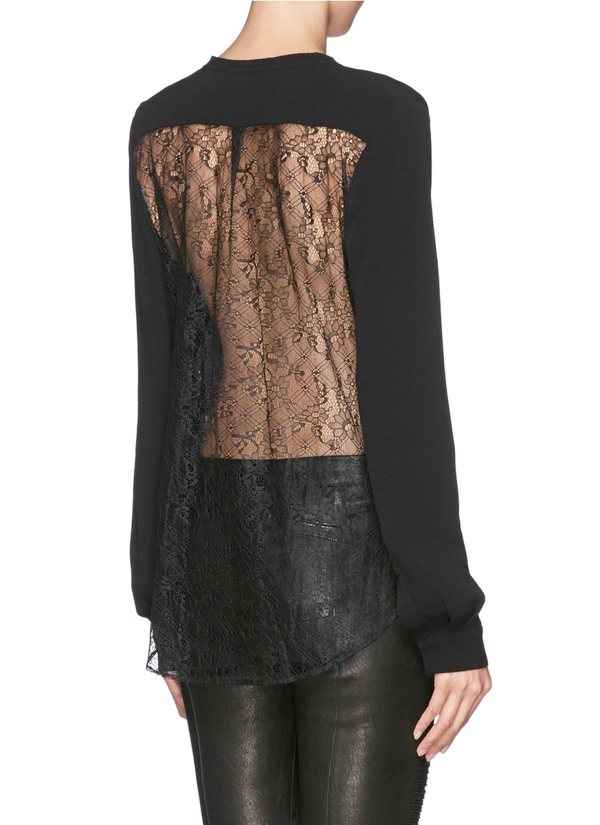 Lyst - Sandro \'elwire\' Floral Lace Panel Crepe Blouse in Black