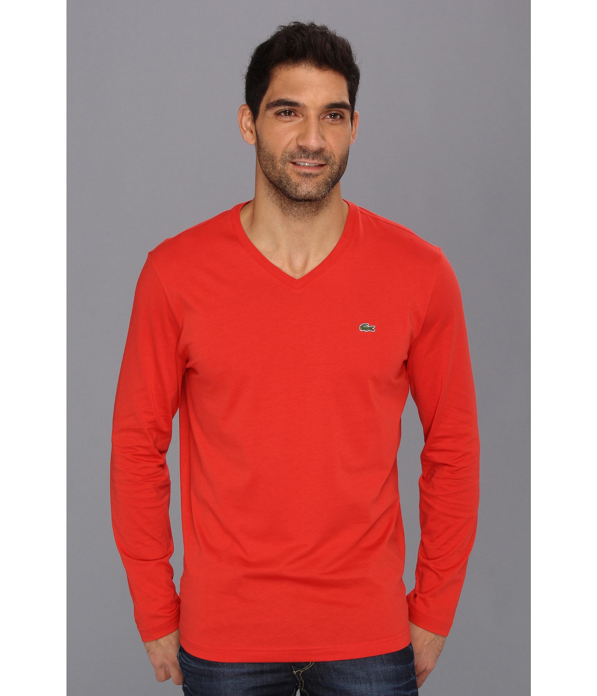 daf91dd68d4613 Lyst - Lacoste Long Sleeve Pima Jersey Vneck Tshirt in Red for Men