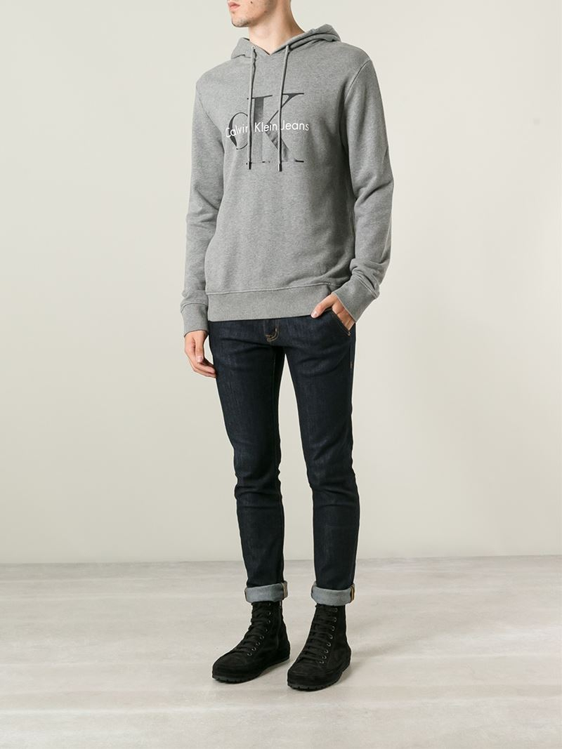 calvin klein jeans logo print hoodie in gray for men lyst. Black Bedroom Furniture Sets. Home Design Ideas