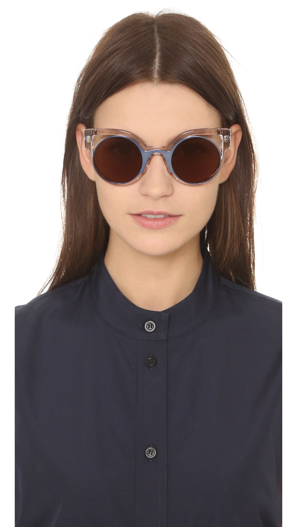 cb3a1f25aeef Fendi Round Cutout Sunglasses in Blue - Lyst