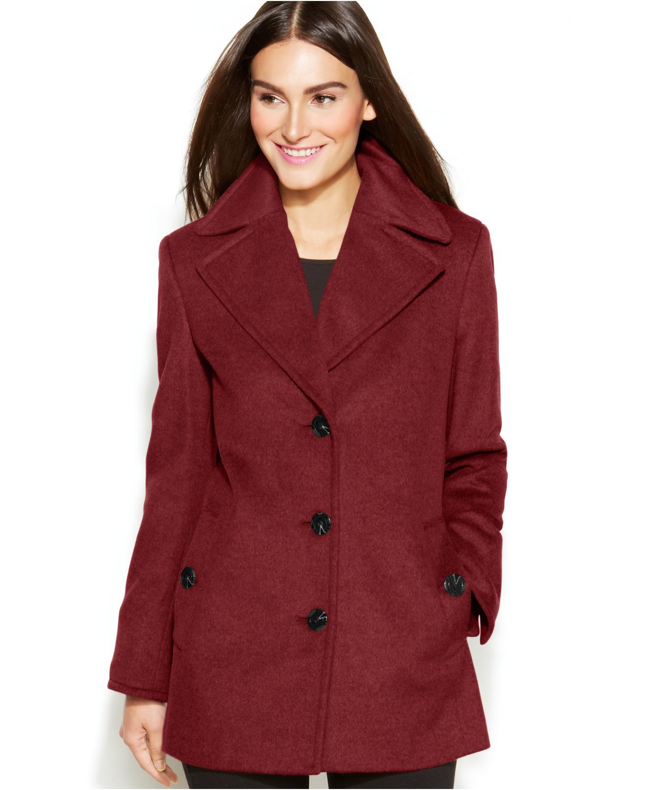 calvin klein plus size wool-cashmere blend single-breasted peacoat