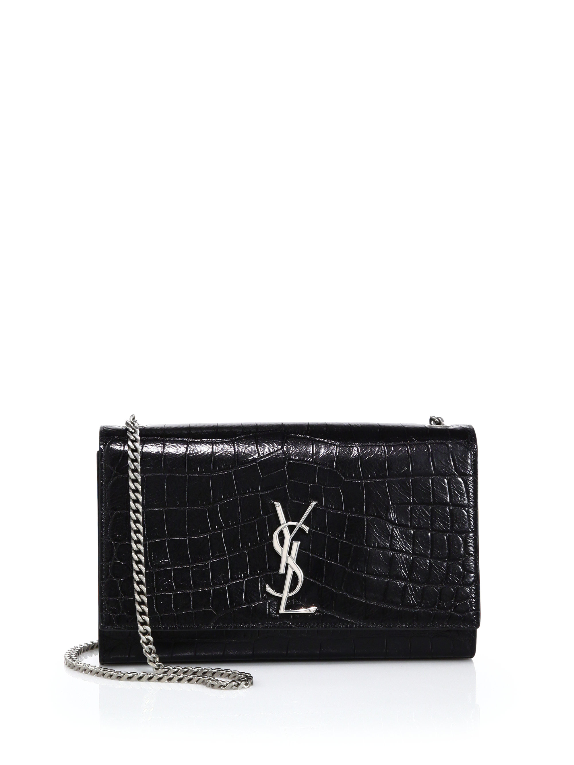 Small Festival Backpack In Black Crocodile Embossed Leather