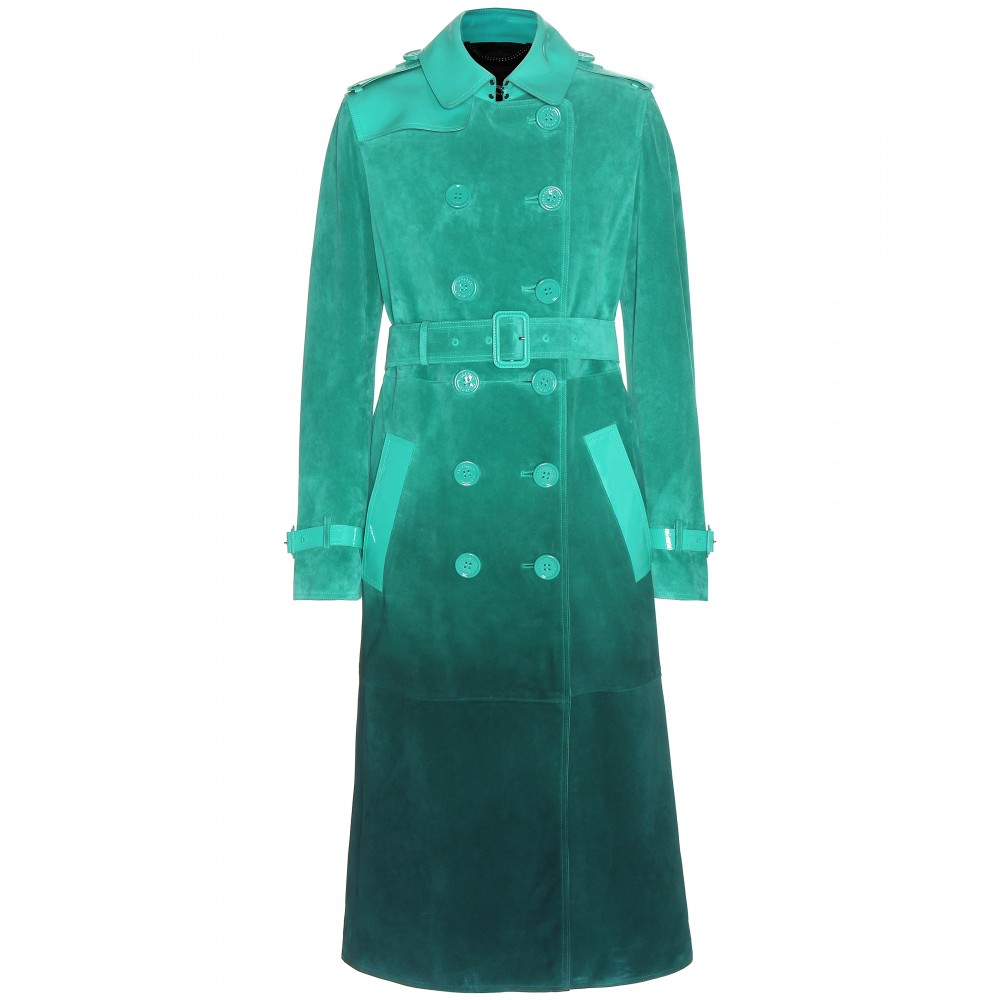 Burberry prorsum Leather-Trimmed Suede Trench Coat in Green | Lyst