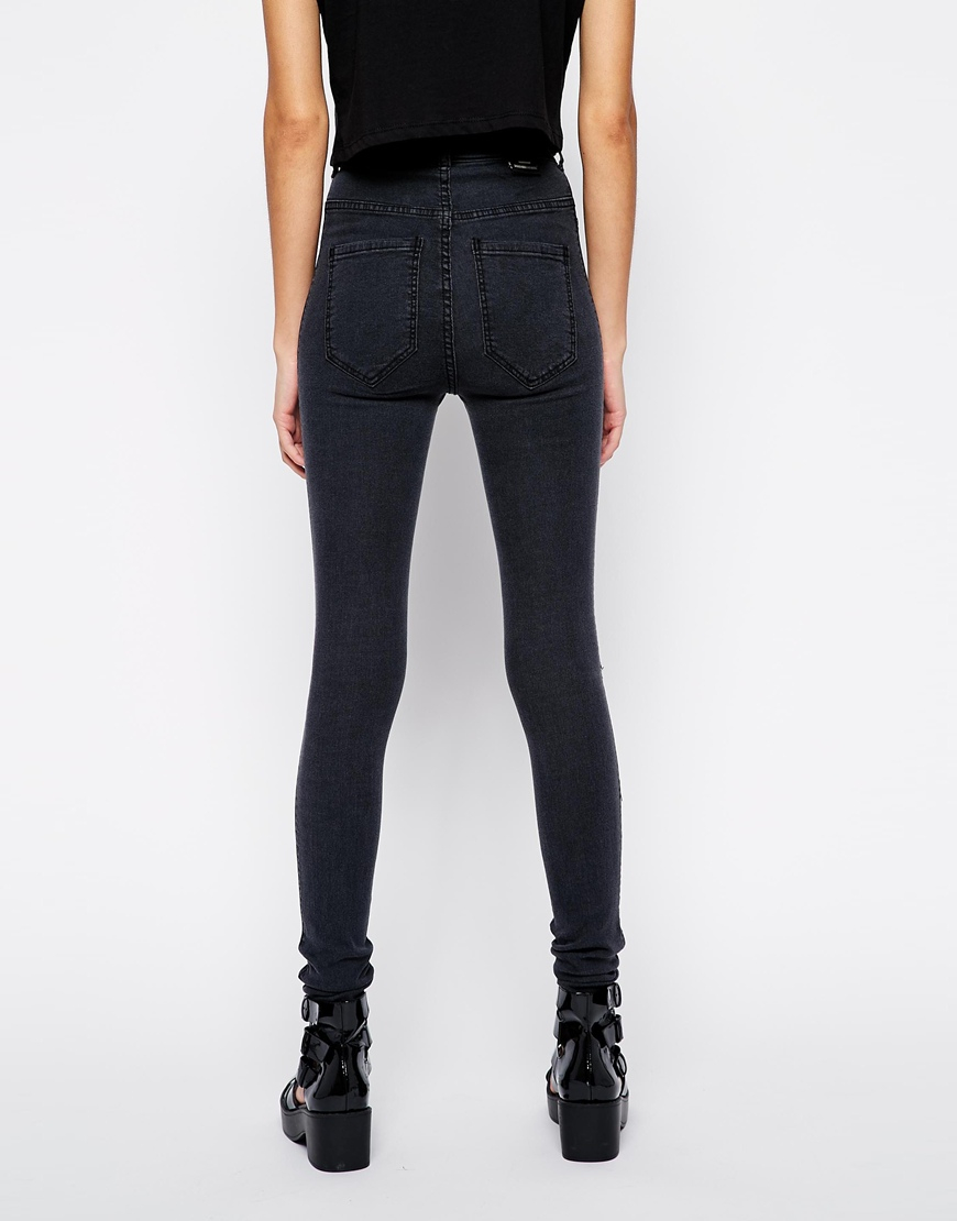 dr denim solitaire high waist super skinny jeans in black. Black Bedroom Furniture Sets. Home Design Ideas